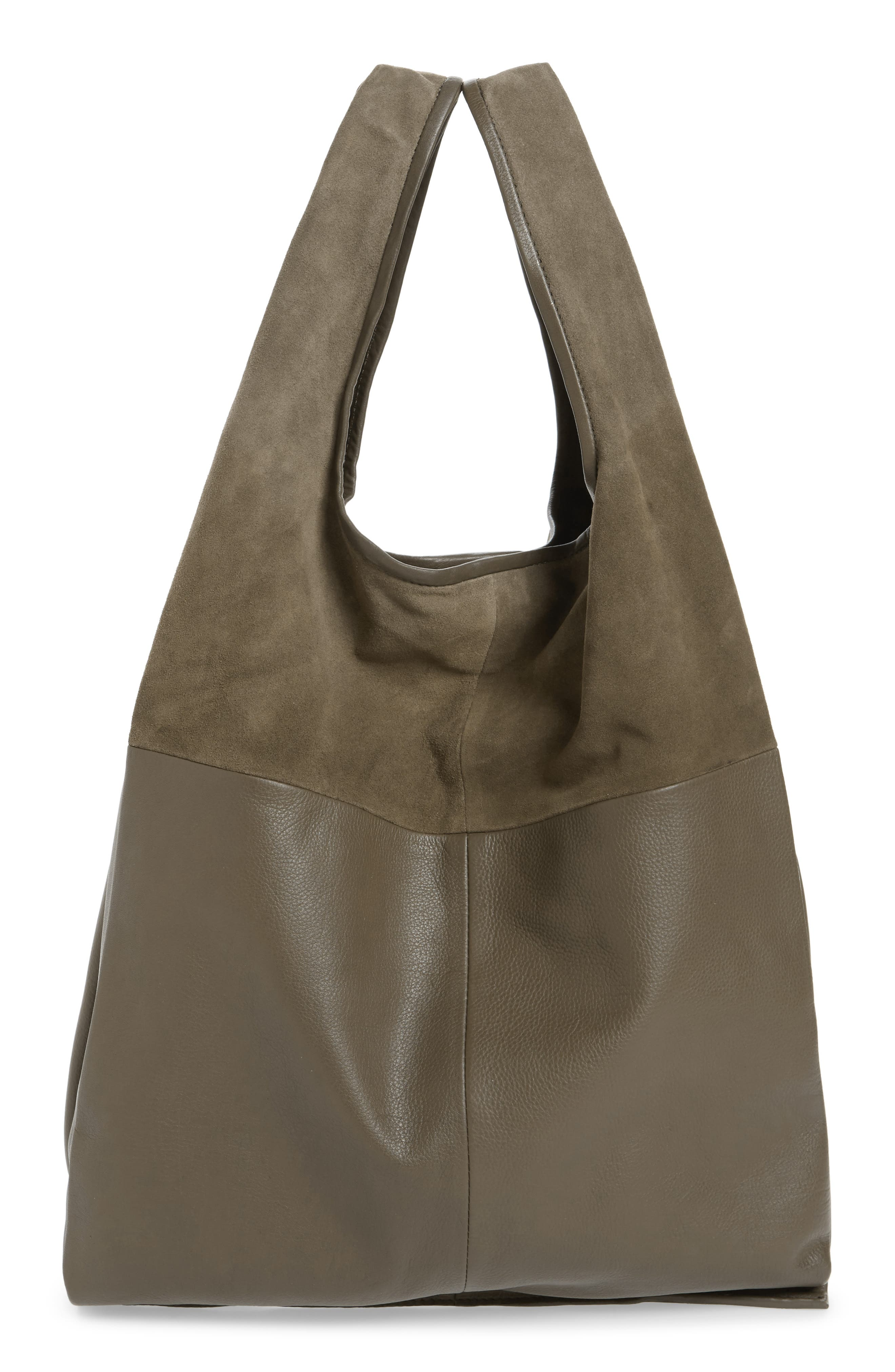 Topshop Slouchy Suede & Leather Tote