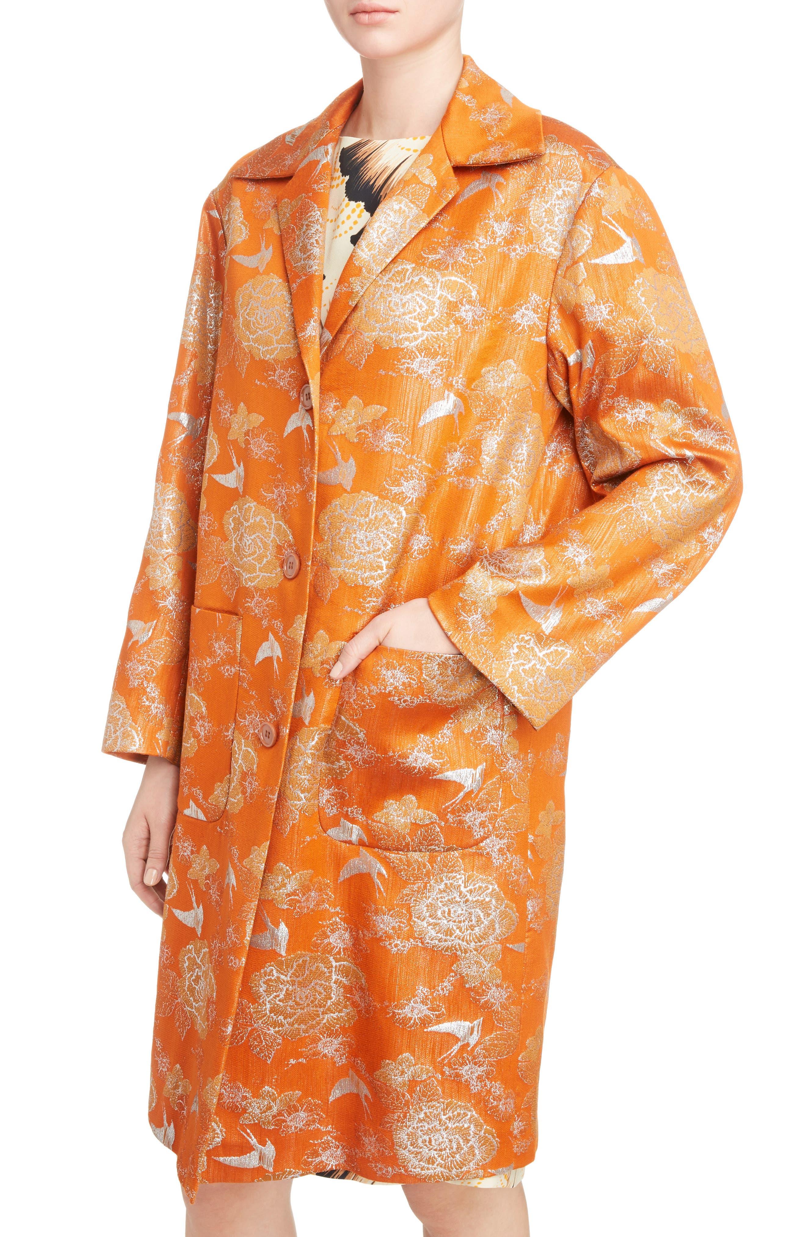 Silver Bird Jacquard Coat,                             Alternate thumbnail 4, color,                             Orange