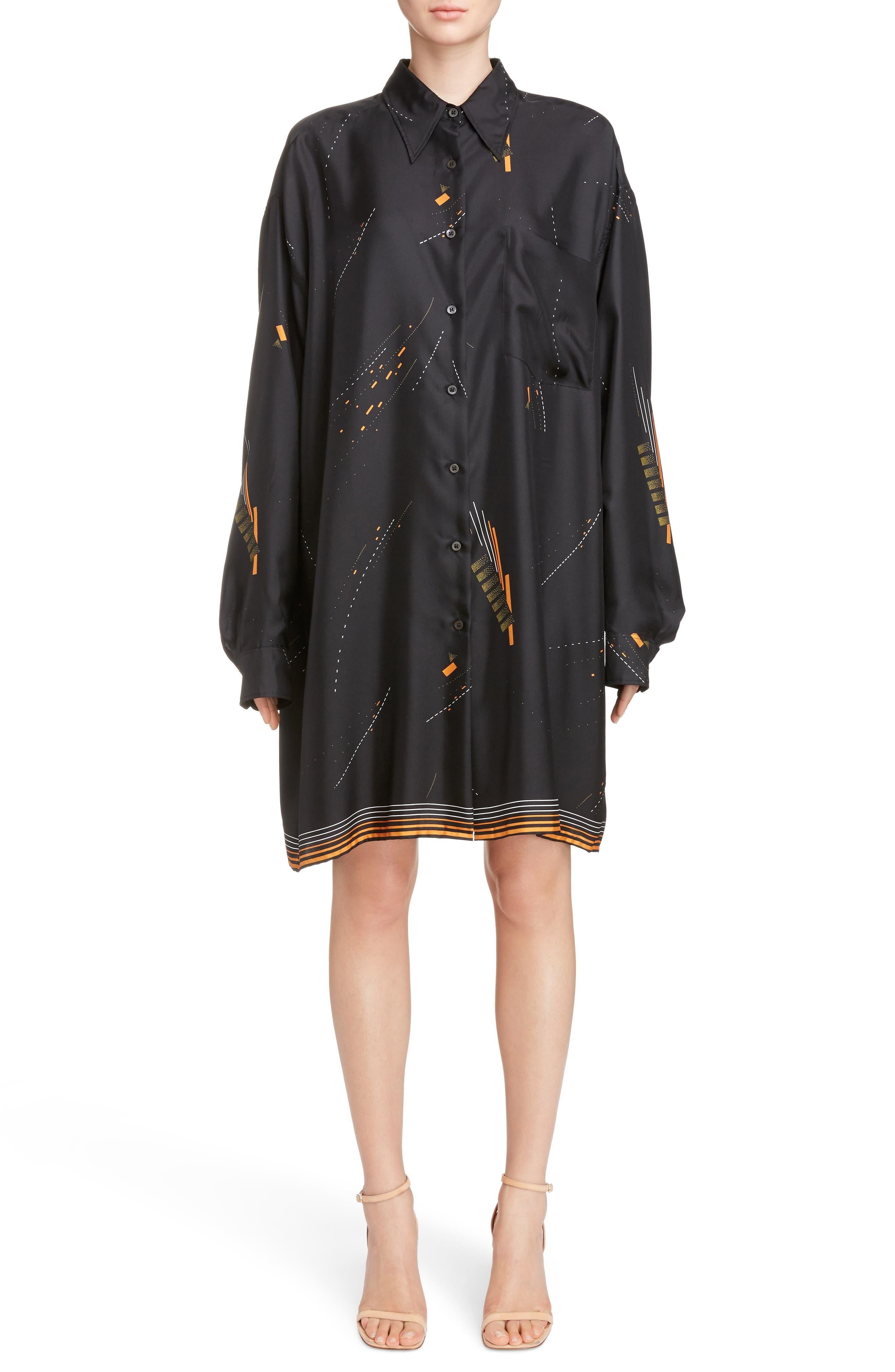 Print Silk Shirtdress,                             Main thumbnail 1, color,                             Black