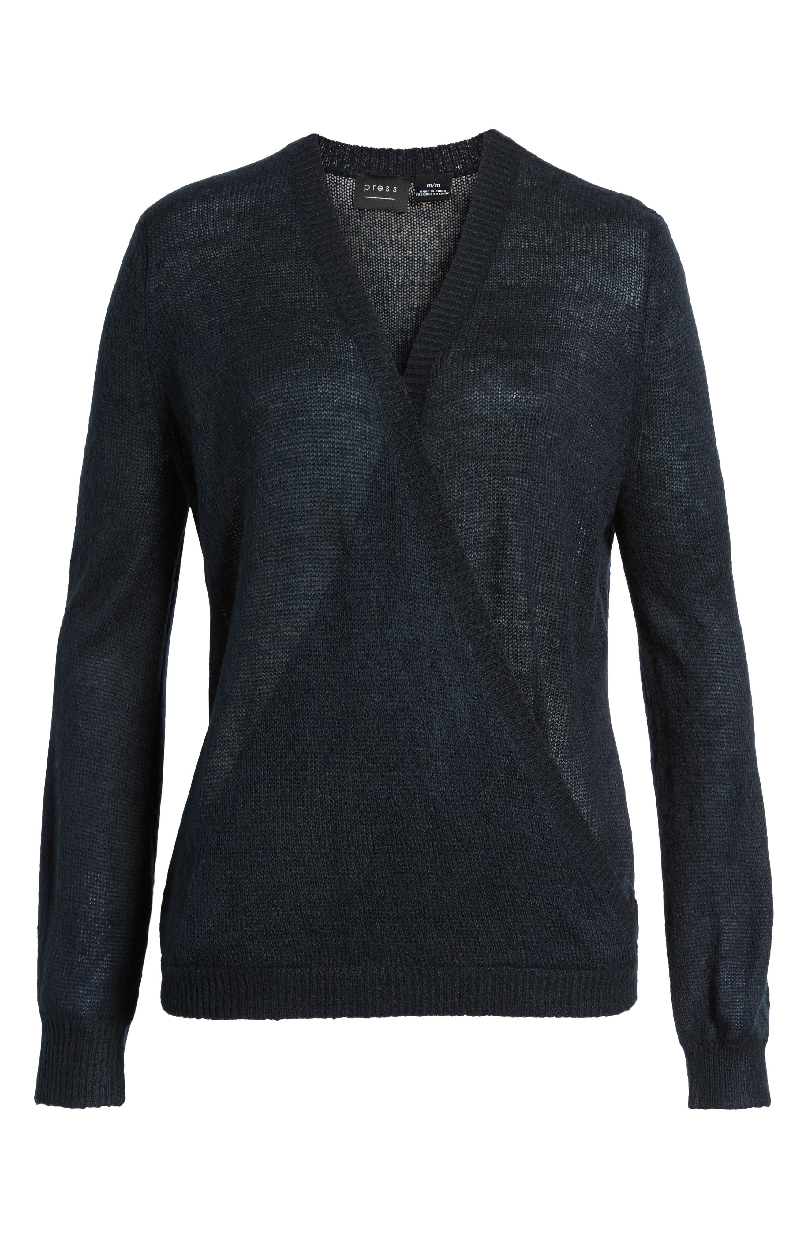 V-Neck Wrap Sweater,                             Alternate thumbnail 6, color,                             Deepest Navy