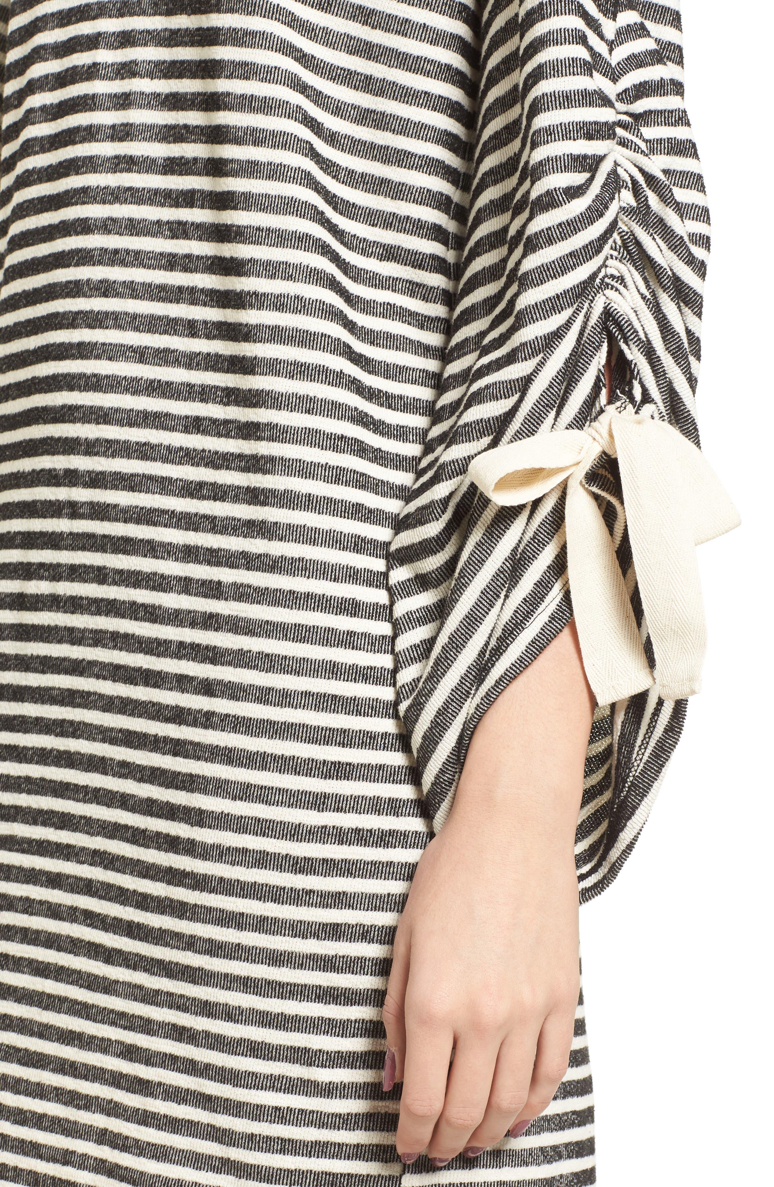 Tie Sleeve Sweatshirt Dress,                             Alternate thumbnail 4, color,                             Black/ Ivory