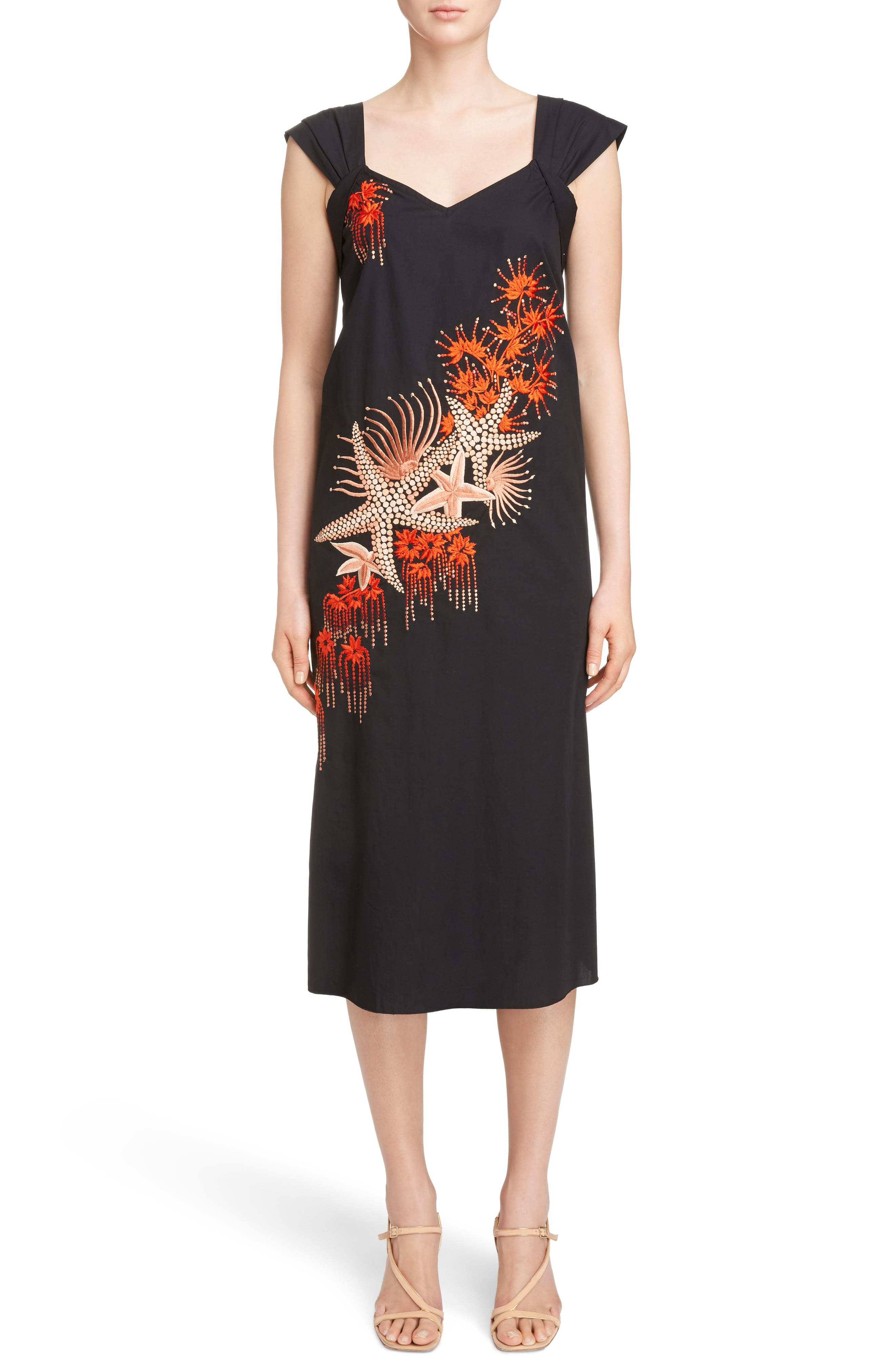 Embroidered Starfish Print Dress,                             Main thumbnail 1, color,                             Black