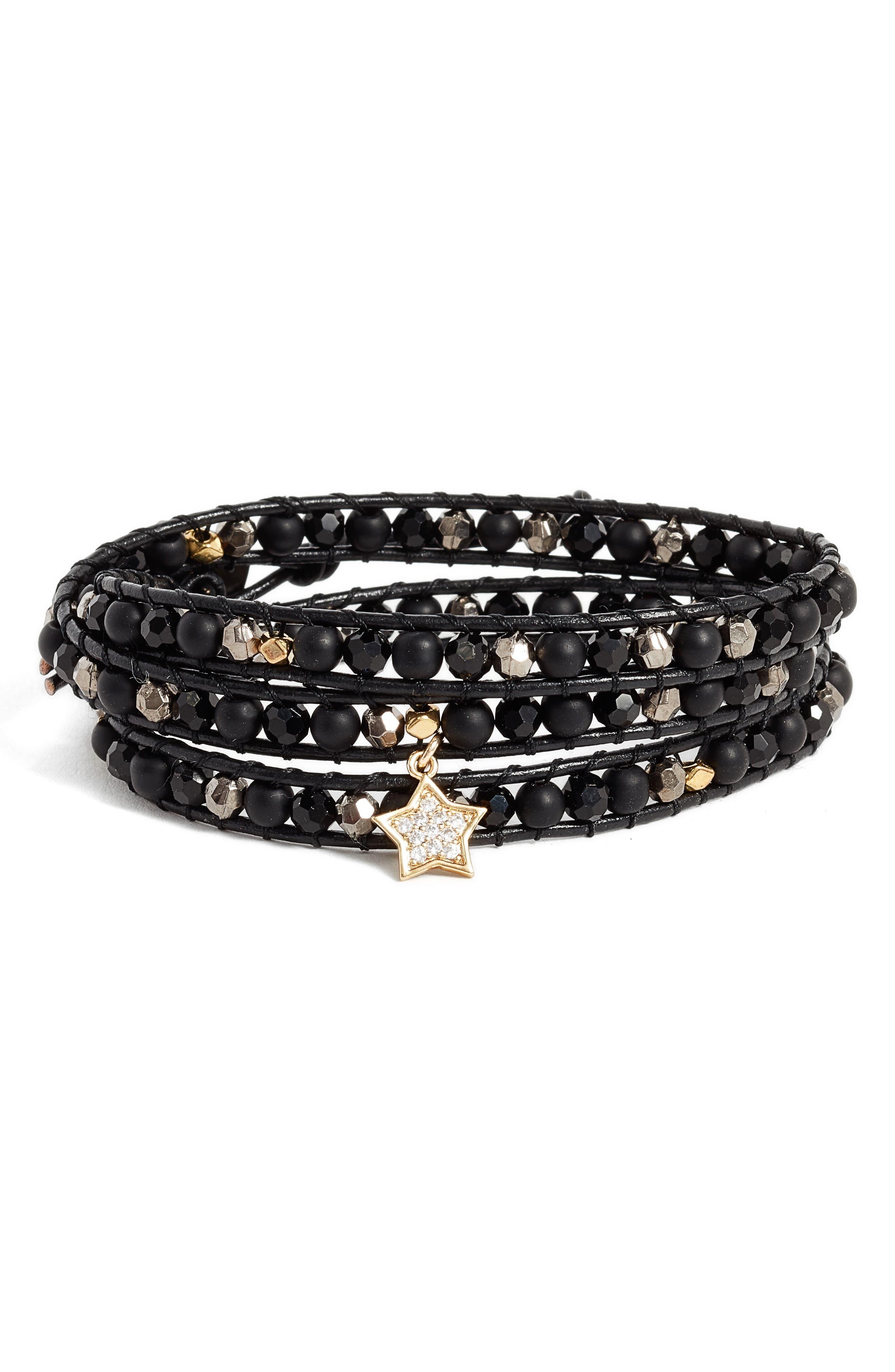 Star Charm Wrap Bracelet,                         Main,                         color, Black