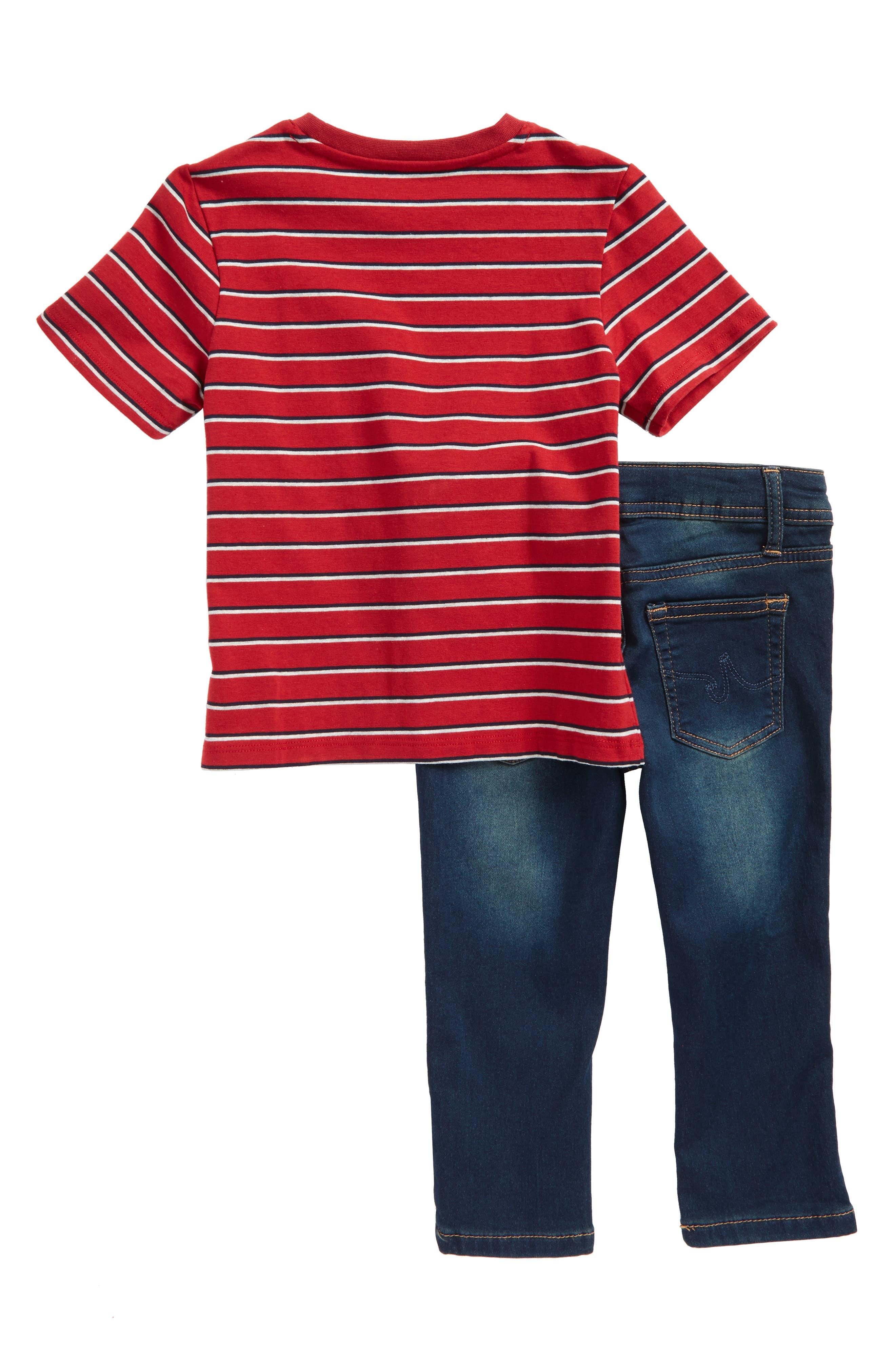 Stripe Shirt & Jeans Set,                             Alternate thumbnail 2, color,                             Pacific Wash
