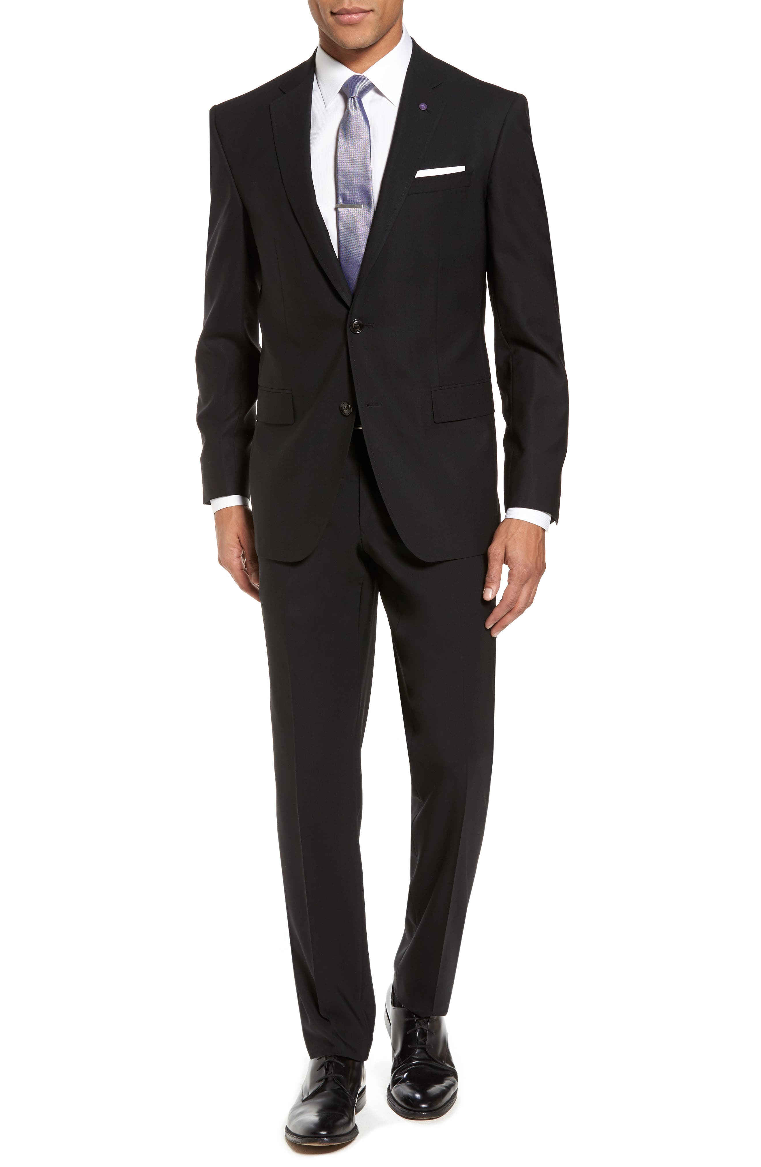 Jay Trim Fit Solid Wool Suit,                         Main,                         color, Black