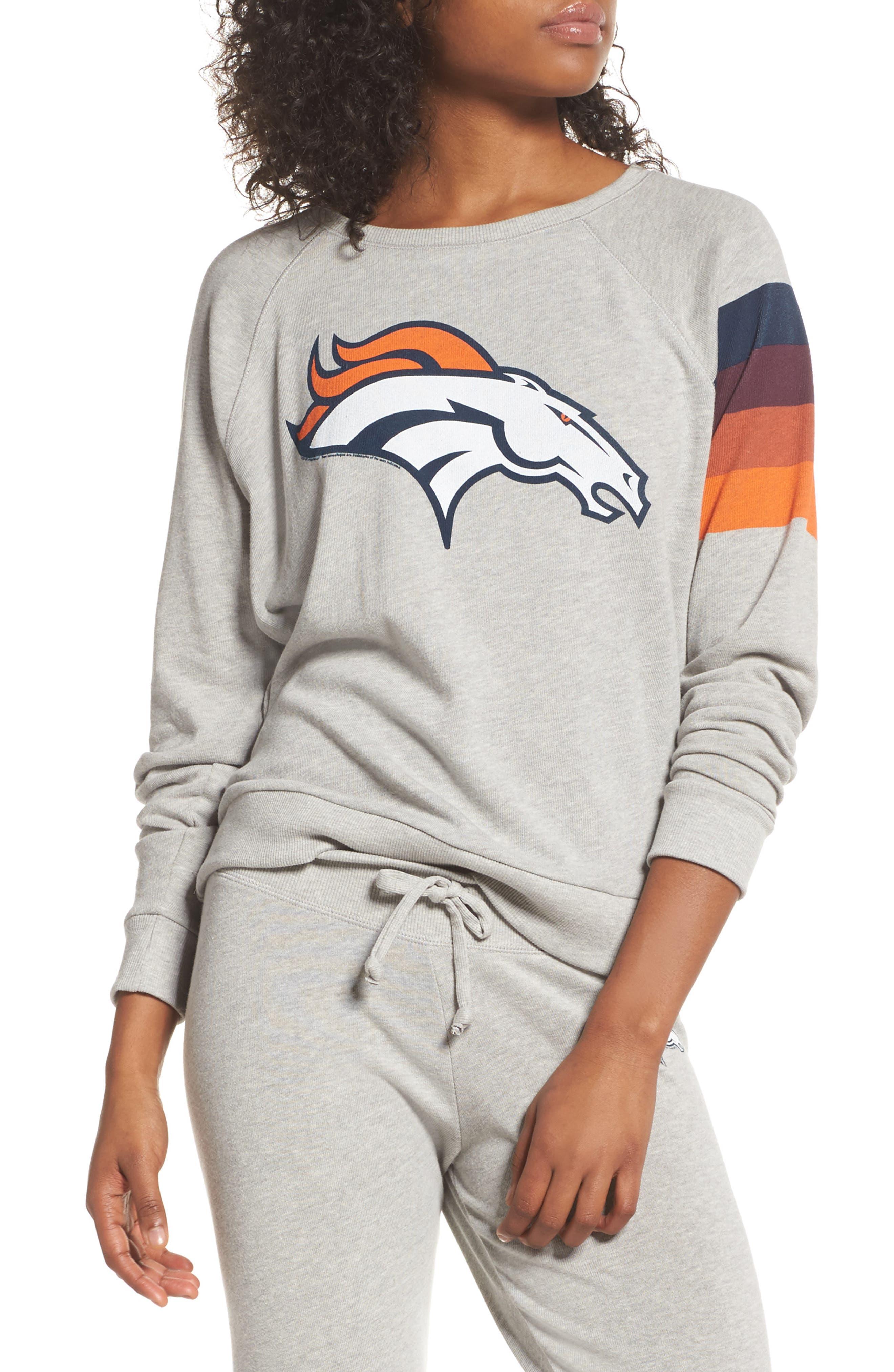 NFL Denver Broncos Hacci Sweatshirt,                             Main thumbnail 1, color,                             Dove Heather Grey
