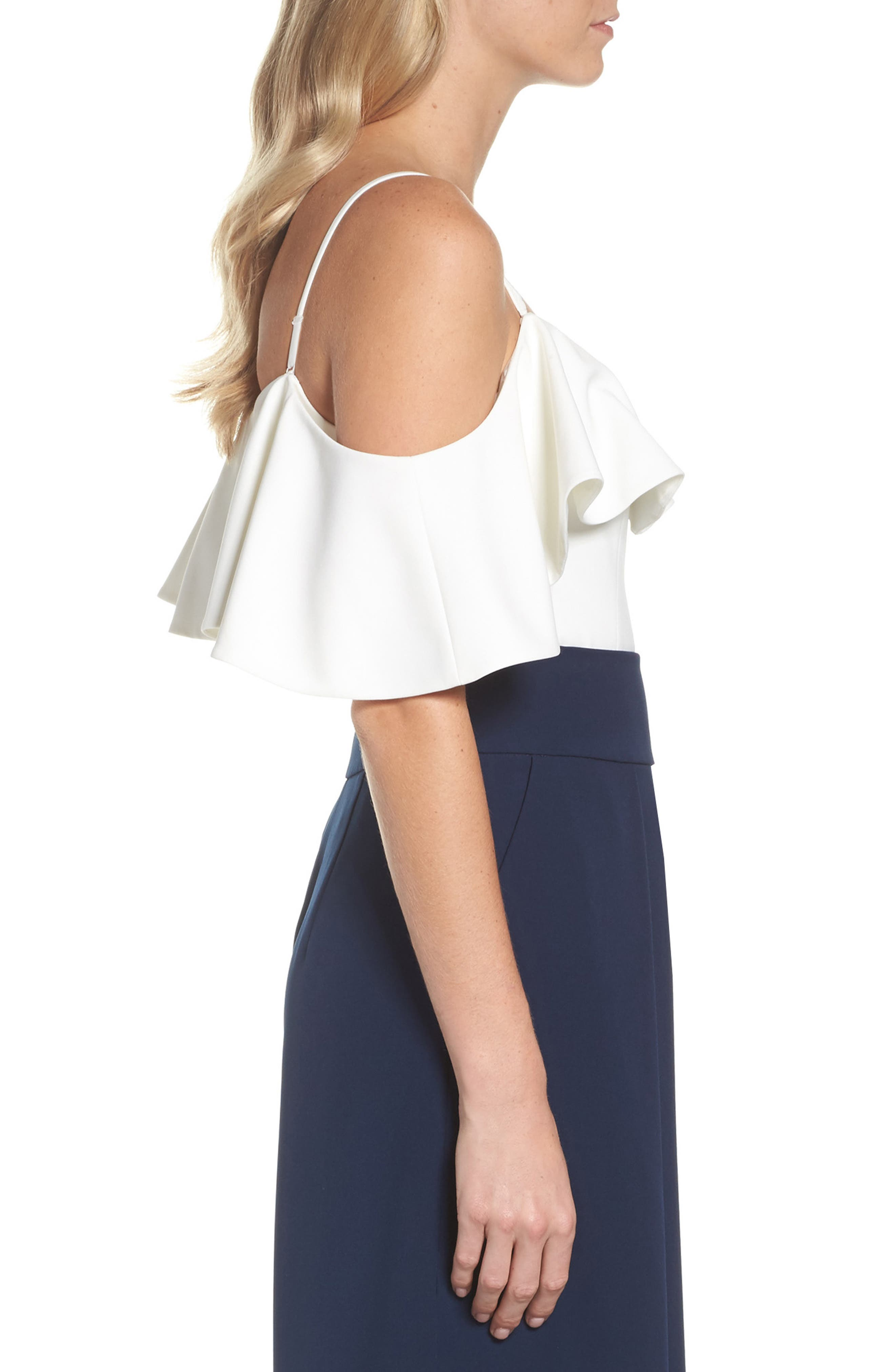 Ruffled Cold Shoulder Top,                             Alternate thumbnail 7, color,                             Ivory