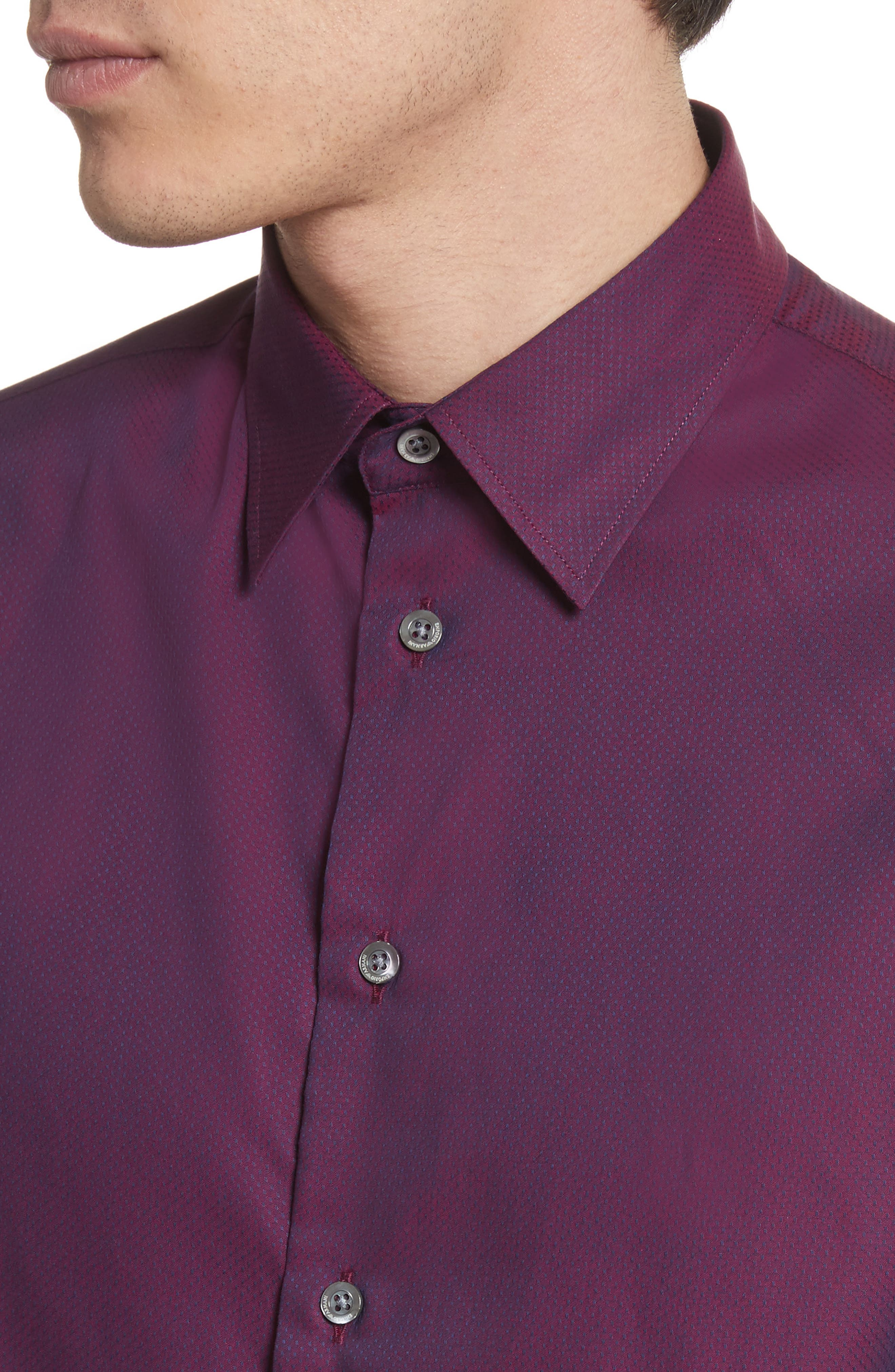 Textured Dot Print Sport Shirt,                             Alternate thumbnail 4, color,                             Fancy Red Tone