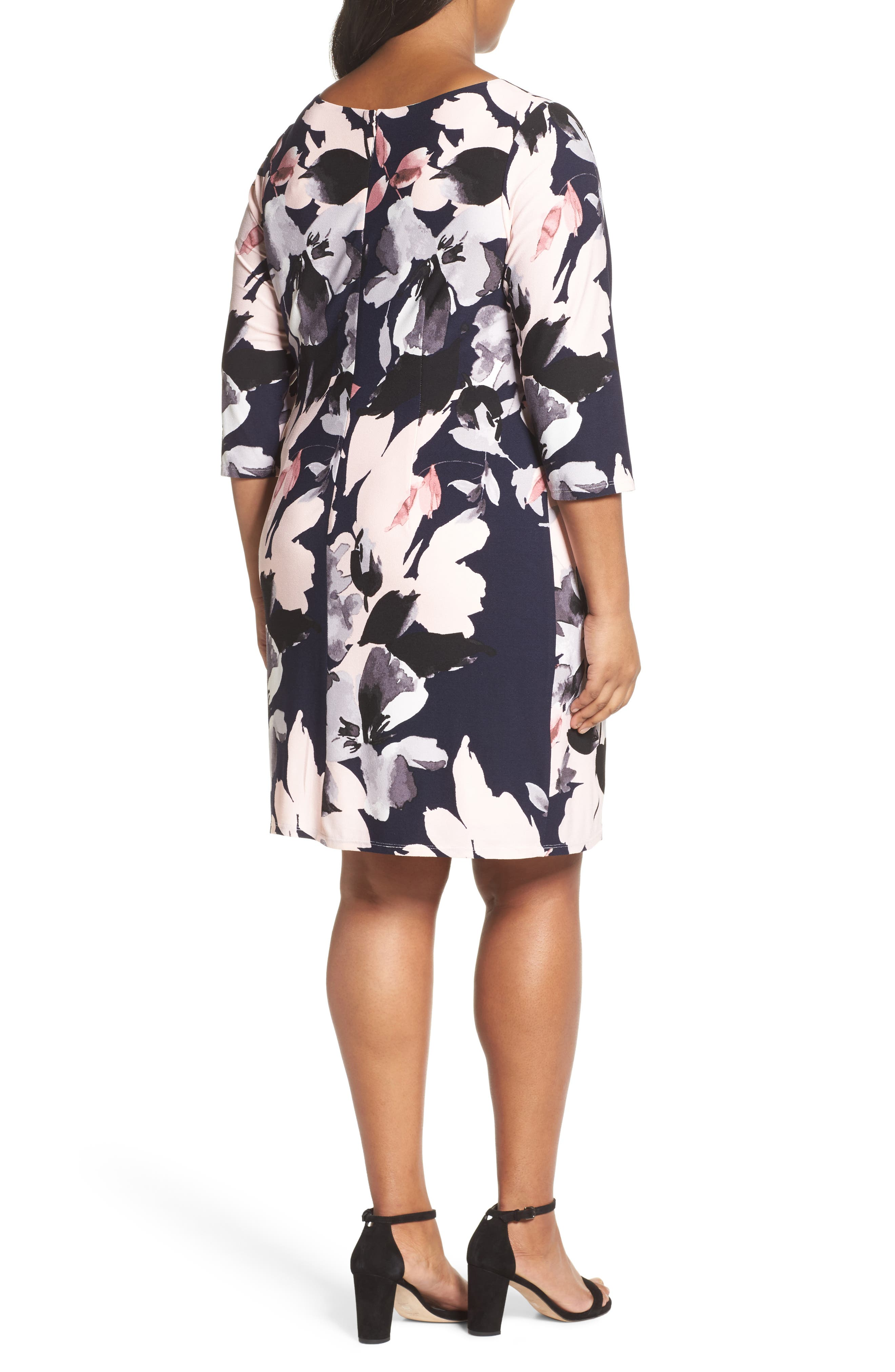 Floral Knit Sheath Dress,                             Alternate thumbnail 2, color,                             Navy Multi