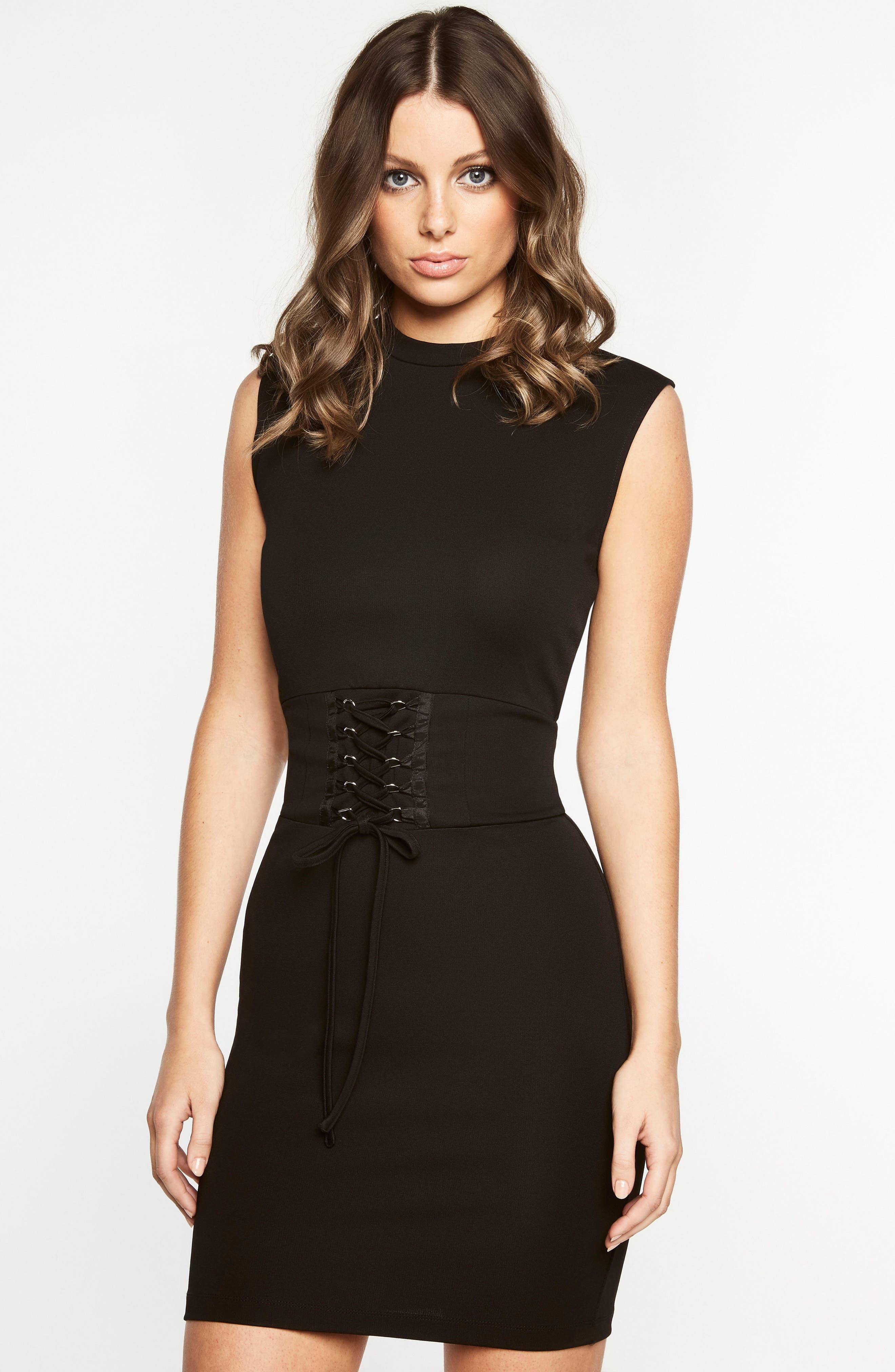 Mila Corset Body-Con Dress,                             Alternate thumbnail 4, color,                             Black