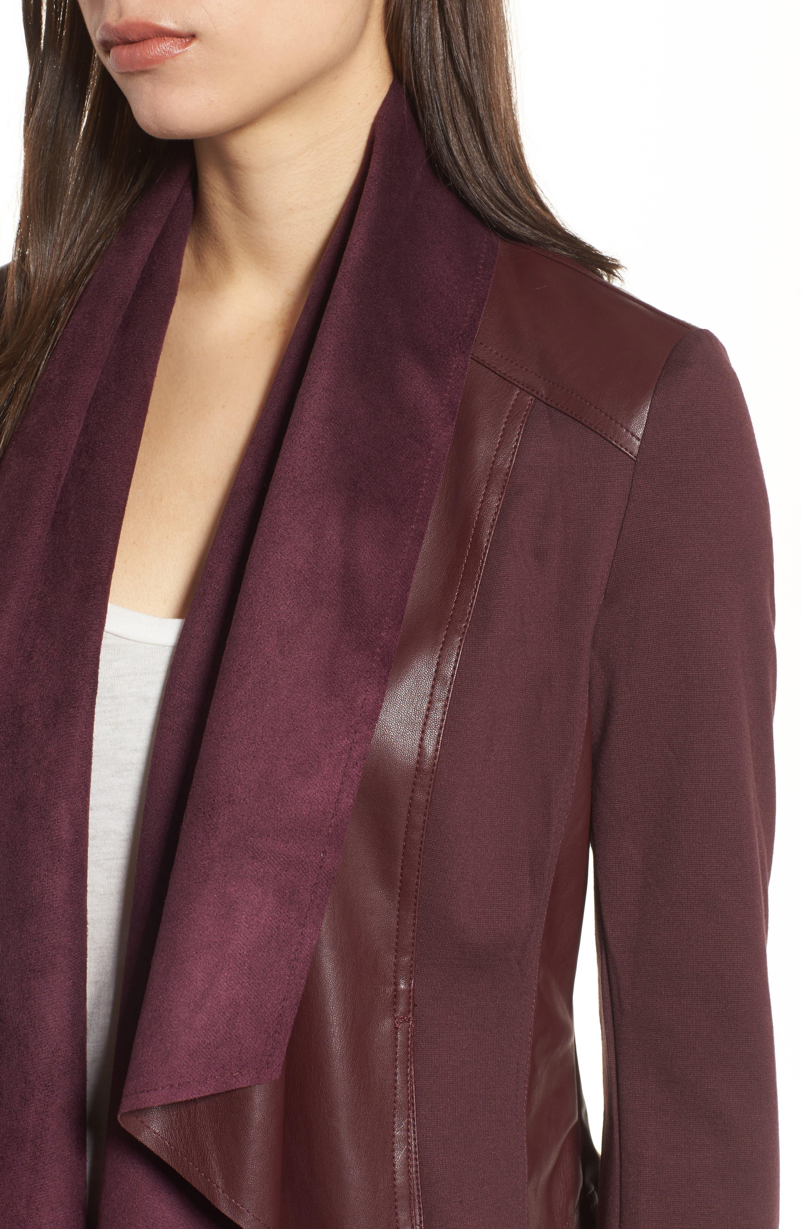 Drape Ponte Jacket,                             Alternate thumbnail 4, color,                             Bordeaux