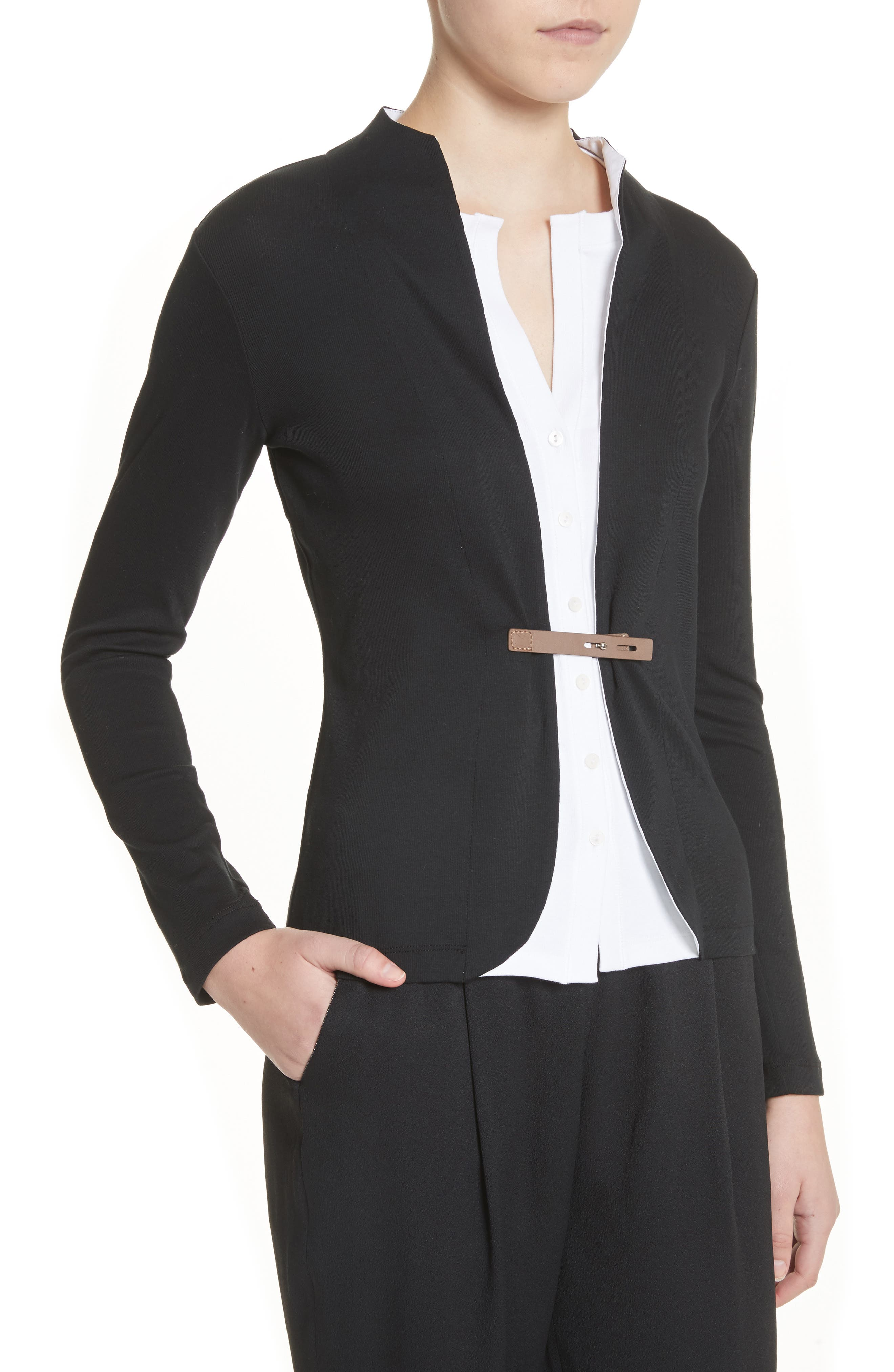 Cotton Blend Cardigan with Insert,                             Alternate thumbnail 3, color,                             Black White