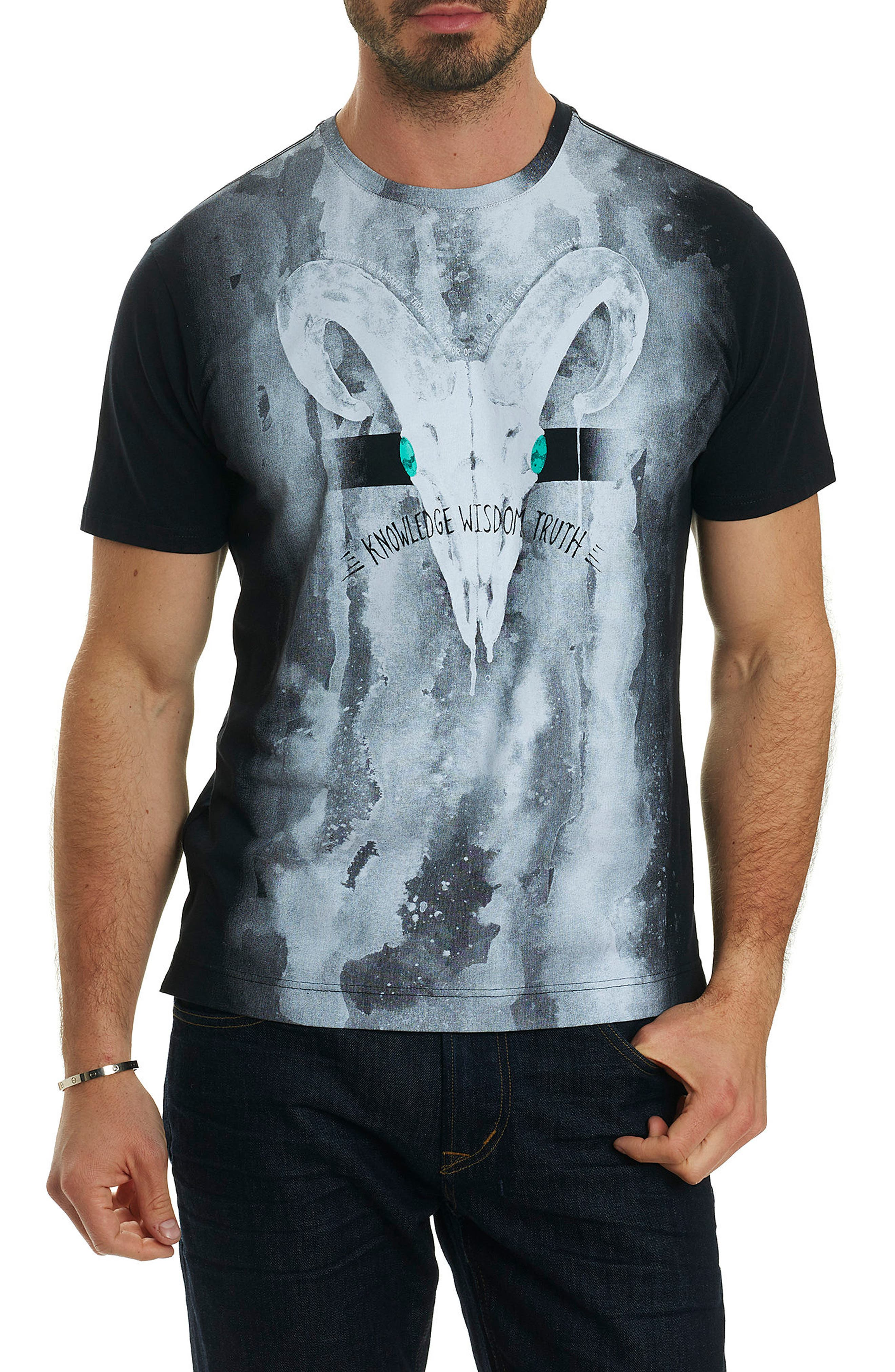Rams Head Graphic T-Shirt,                             Main thumbnail 1, color,                             Black