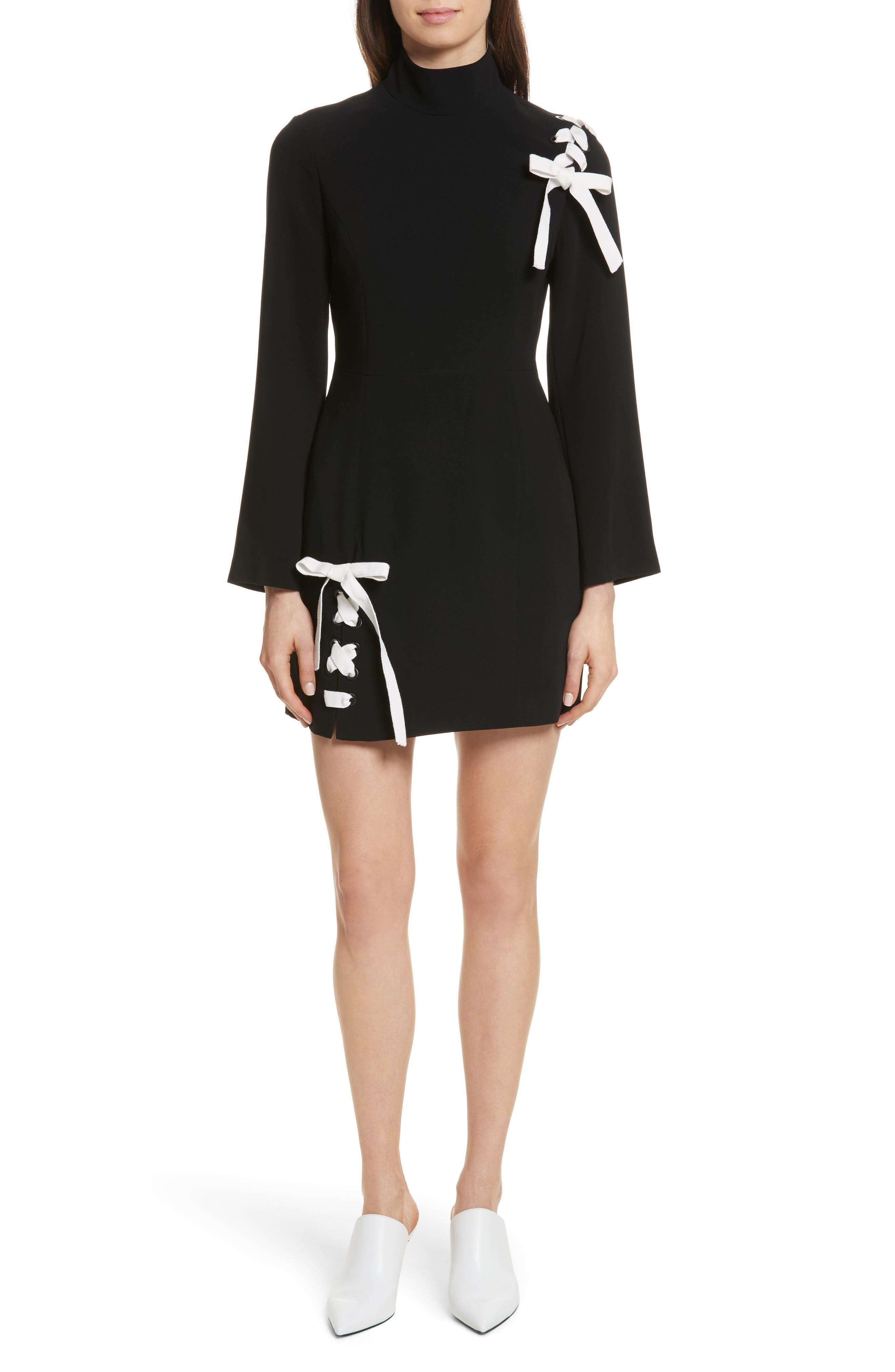 Izella Crepe Minidress,                             Main thumbnail 1, color,                             Black/ Ivory