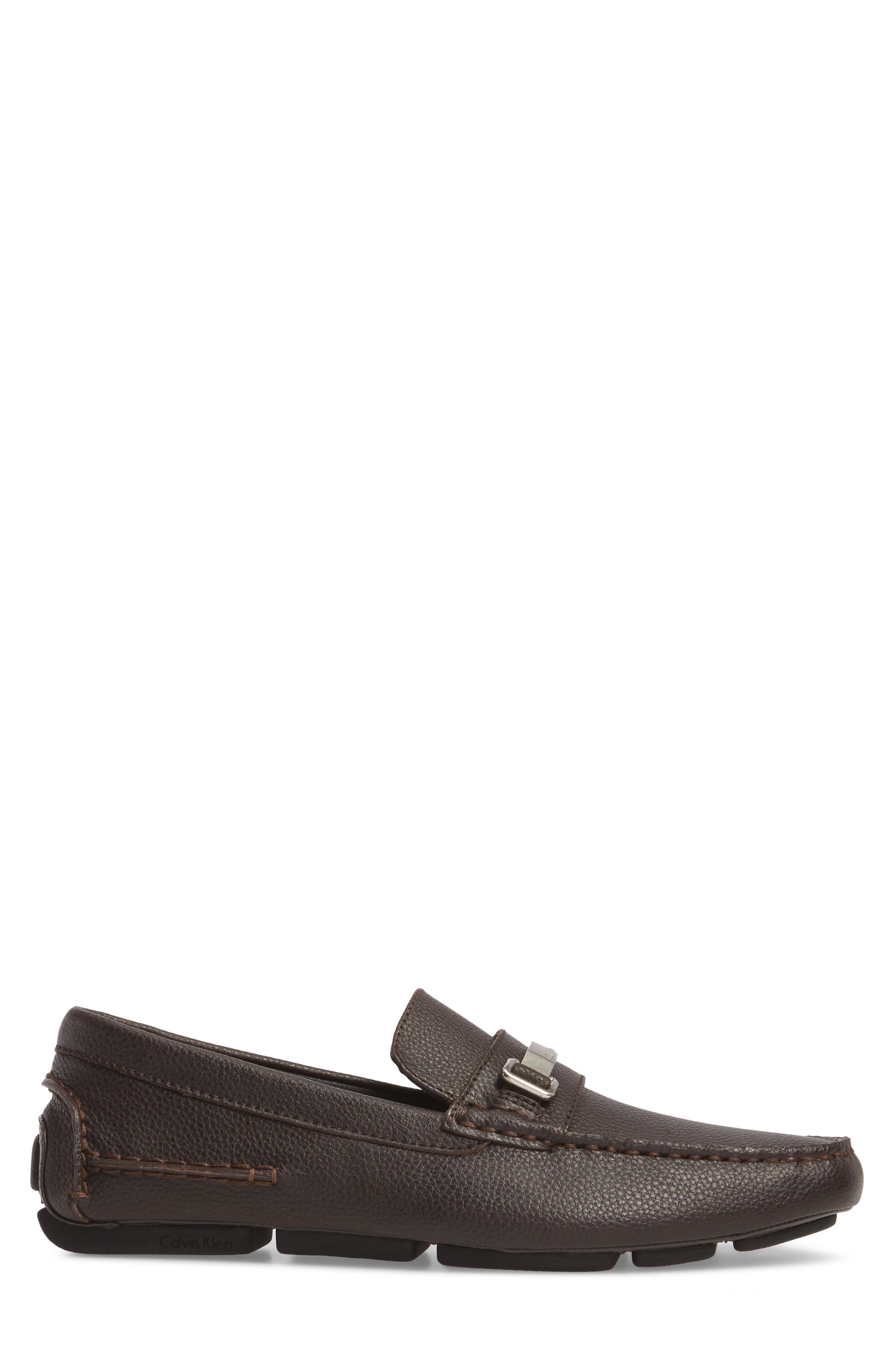 Mikos Driving Shoe,                             Alternate thumbnail 3, color,                             Dark Brown Leather