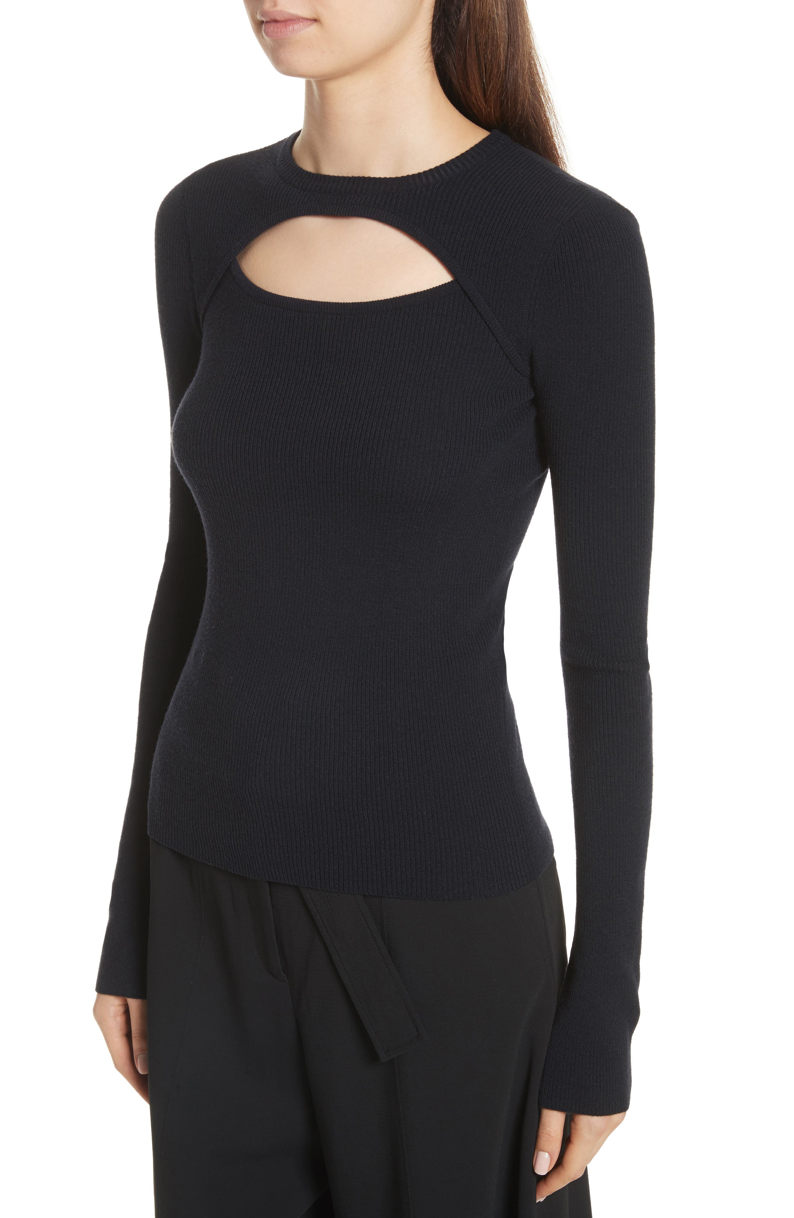 Nell Cutout Merino Wool Blend Sweater,                             Alternate thumbnail 4, color,                             Navy