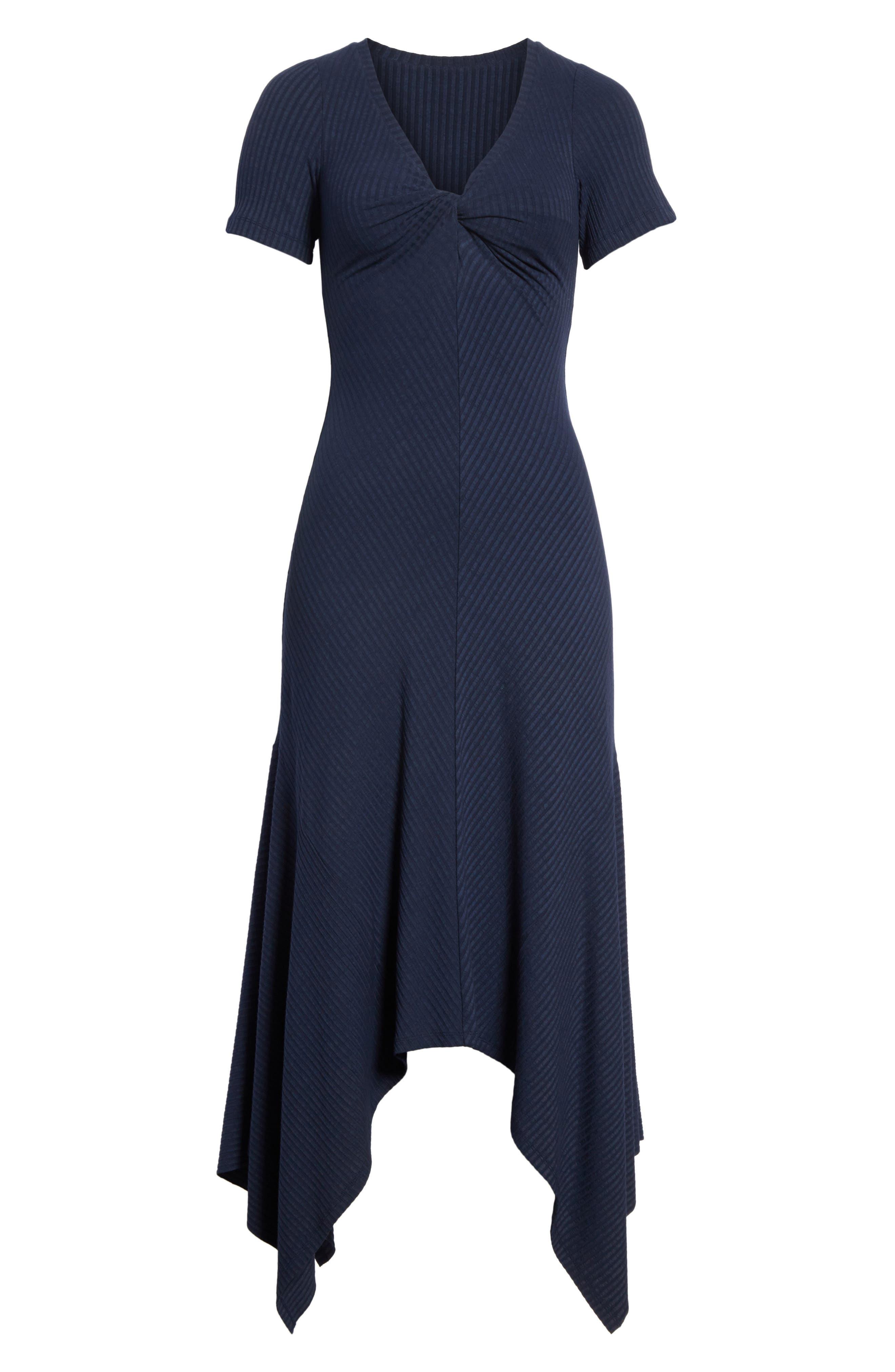 Knotted Rib Knit Midi Dress,                             Alternate thumbnail 7, color,                             Navy