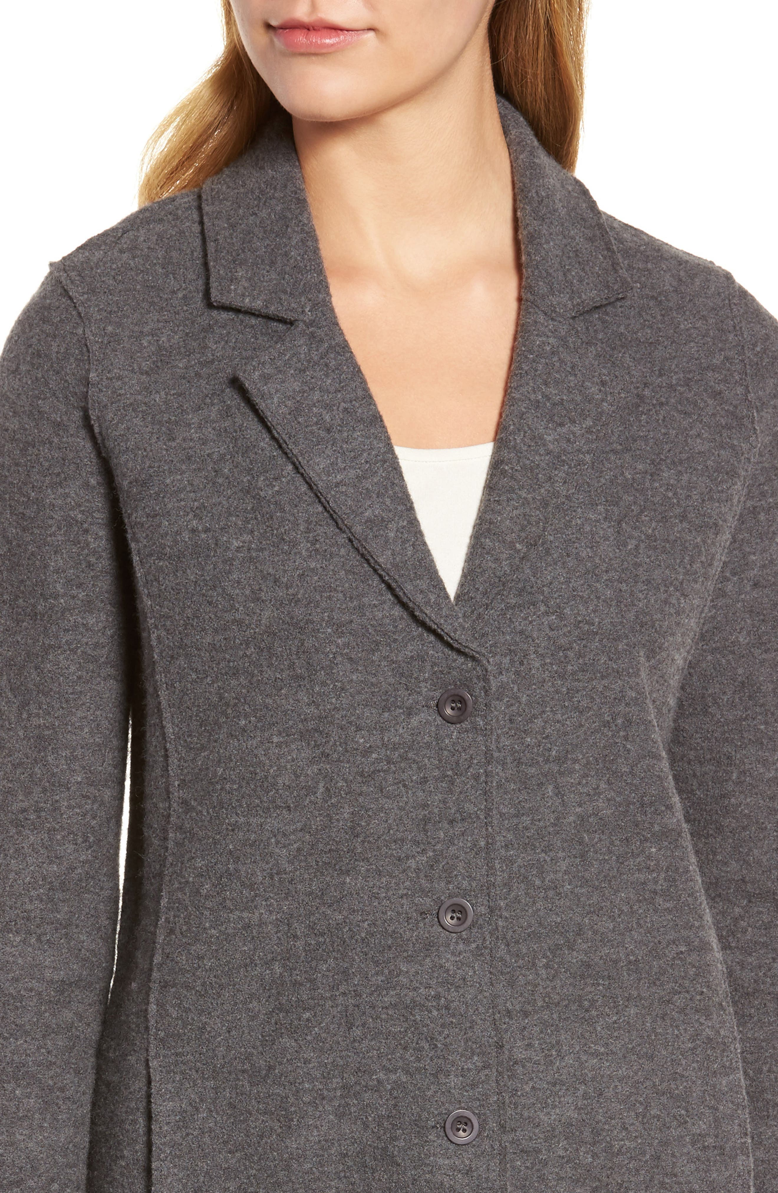 Notch Collar Merino Wool Jacket,                             Alternate thumbnail 4, color,                             Ash
