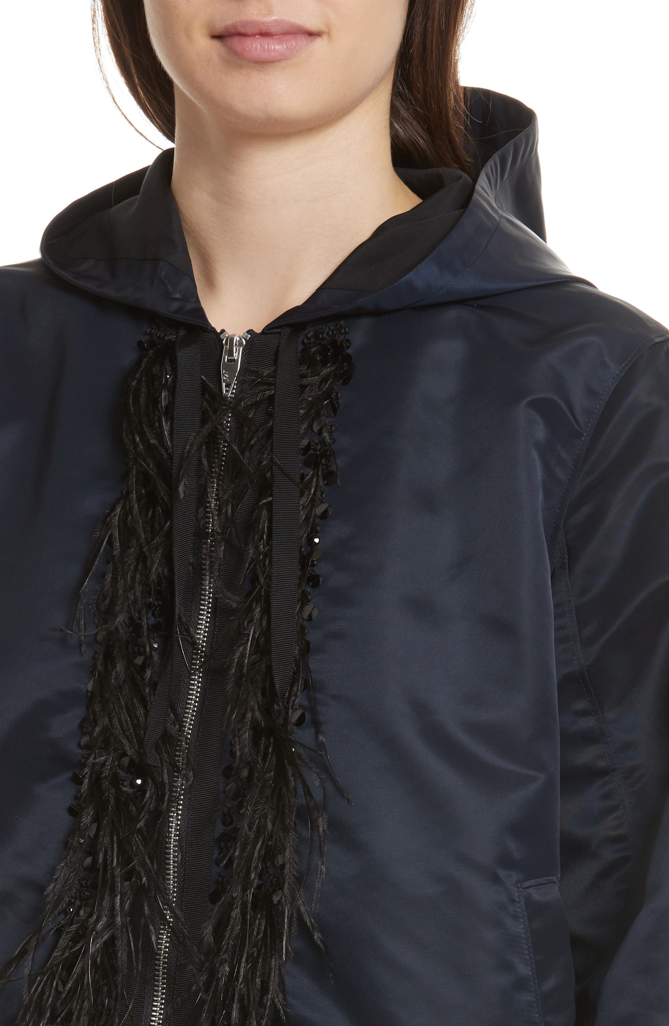 Collette Hooded Feather Trim Jacket,                             Alternate thumbnail 4, color,                             Navy/ Black