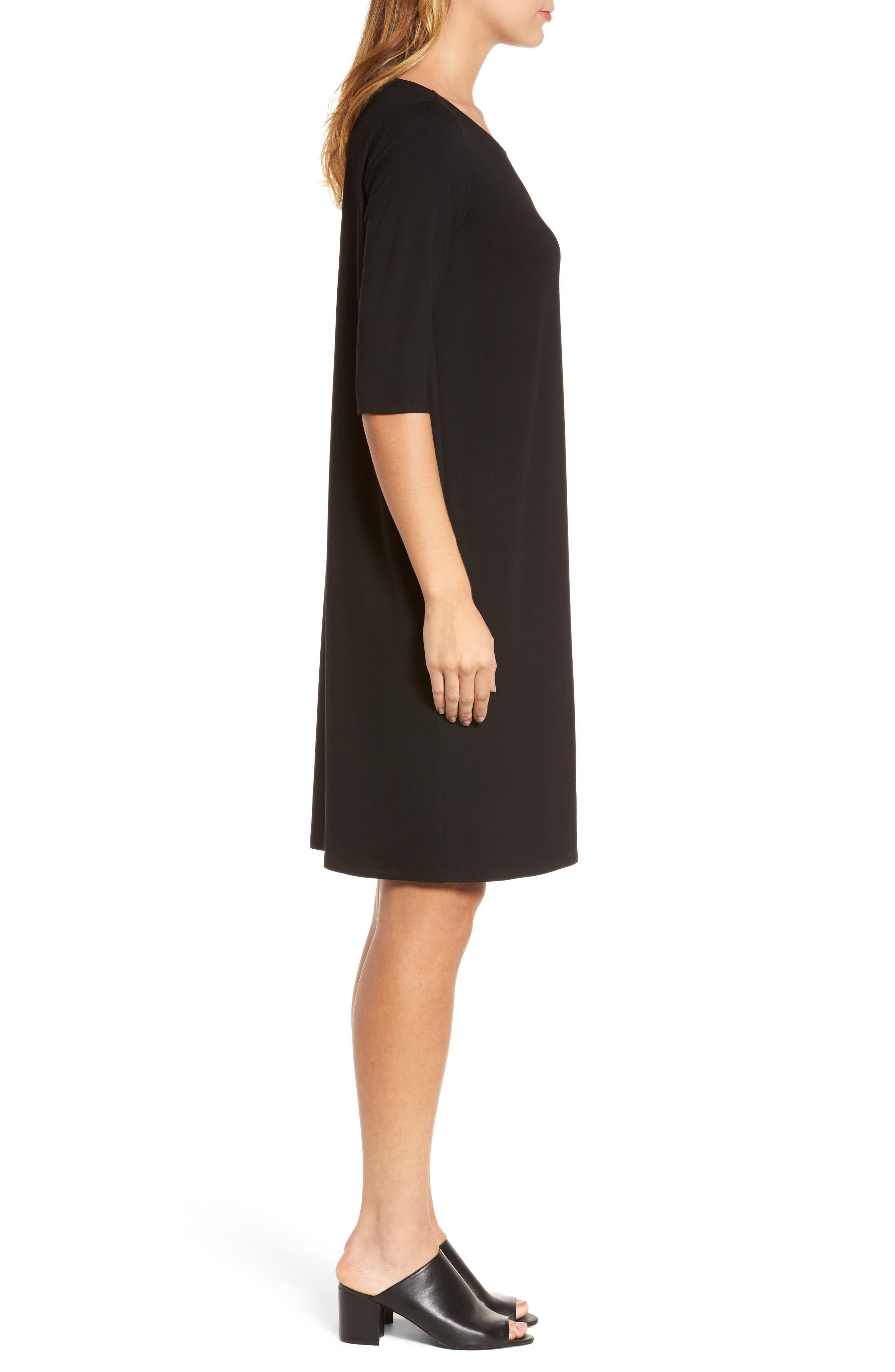 Jersey Shift Dress,                             Alternate thumbnail 3, color,                             Black