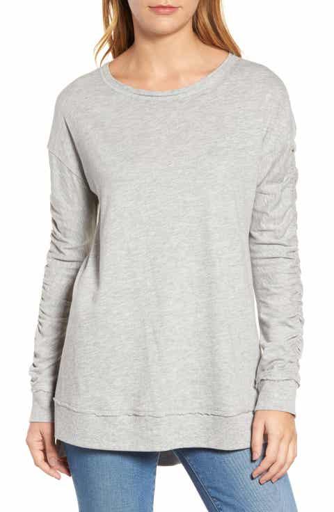 Caslon® Scrunch Sleeve Sweatshirt (Regular & Petite)
