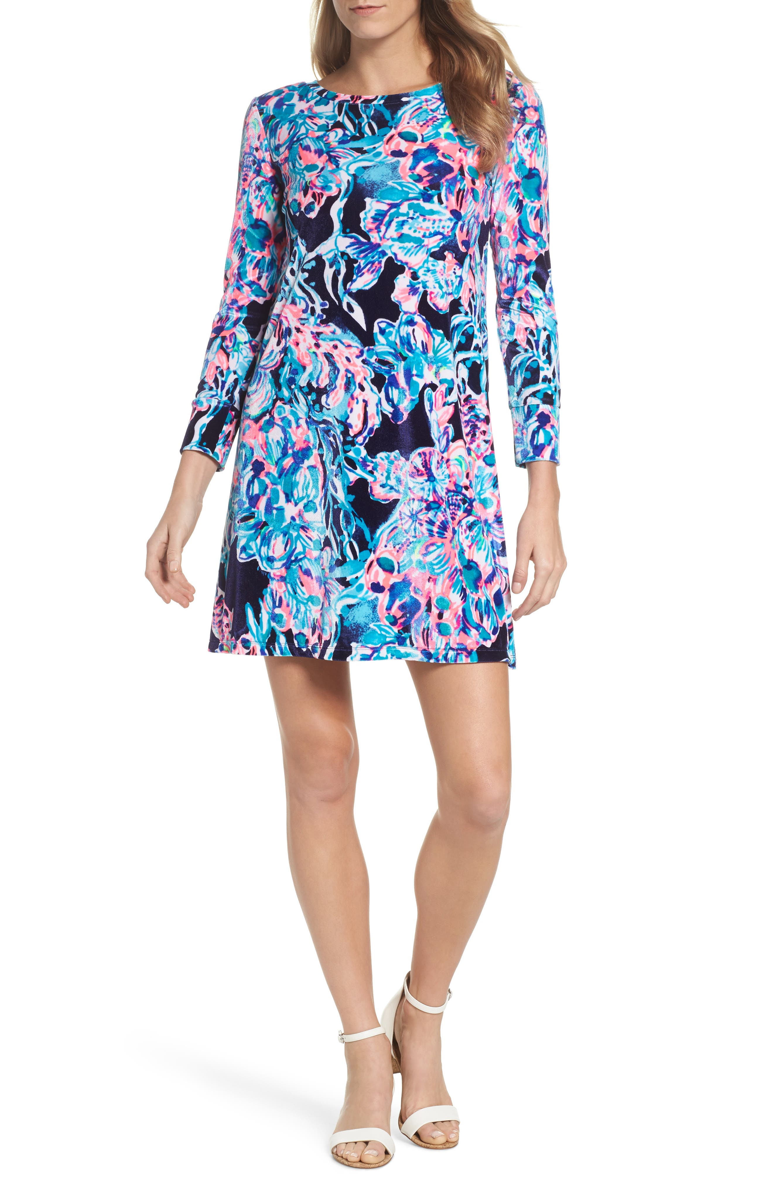 Olive Swing Dress,                         Main,                         color, Bright Navy Caught Up