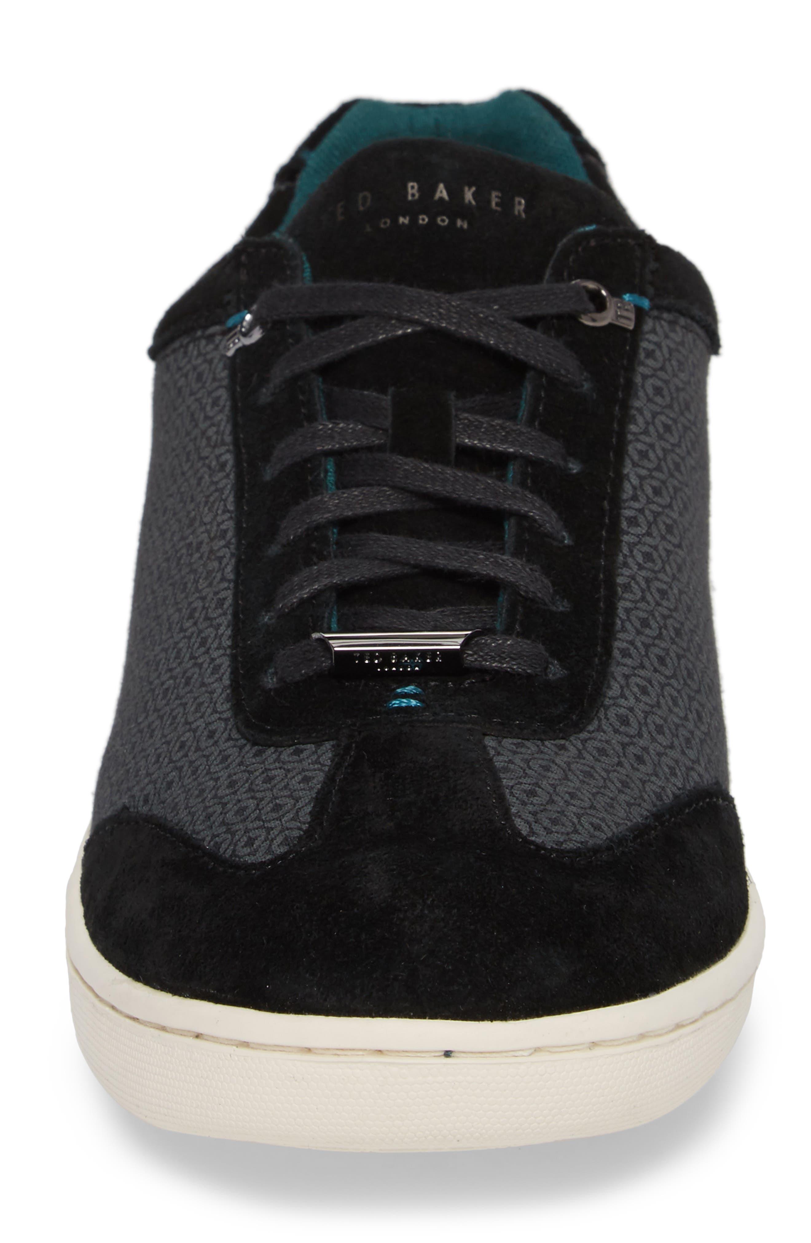 Kiefer Sneaker,                             Alternate thumbnail 4, color,                             Black Suede
