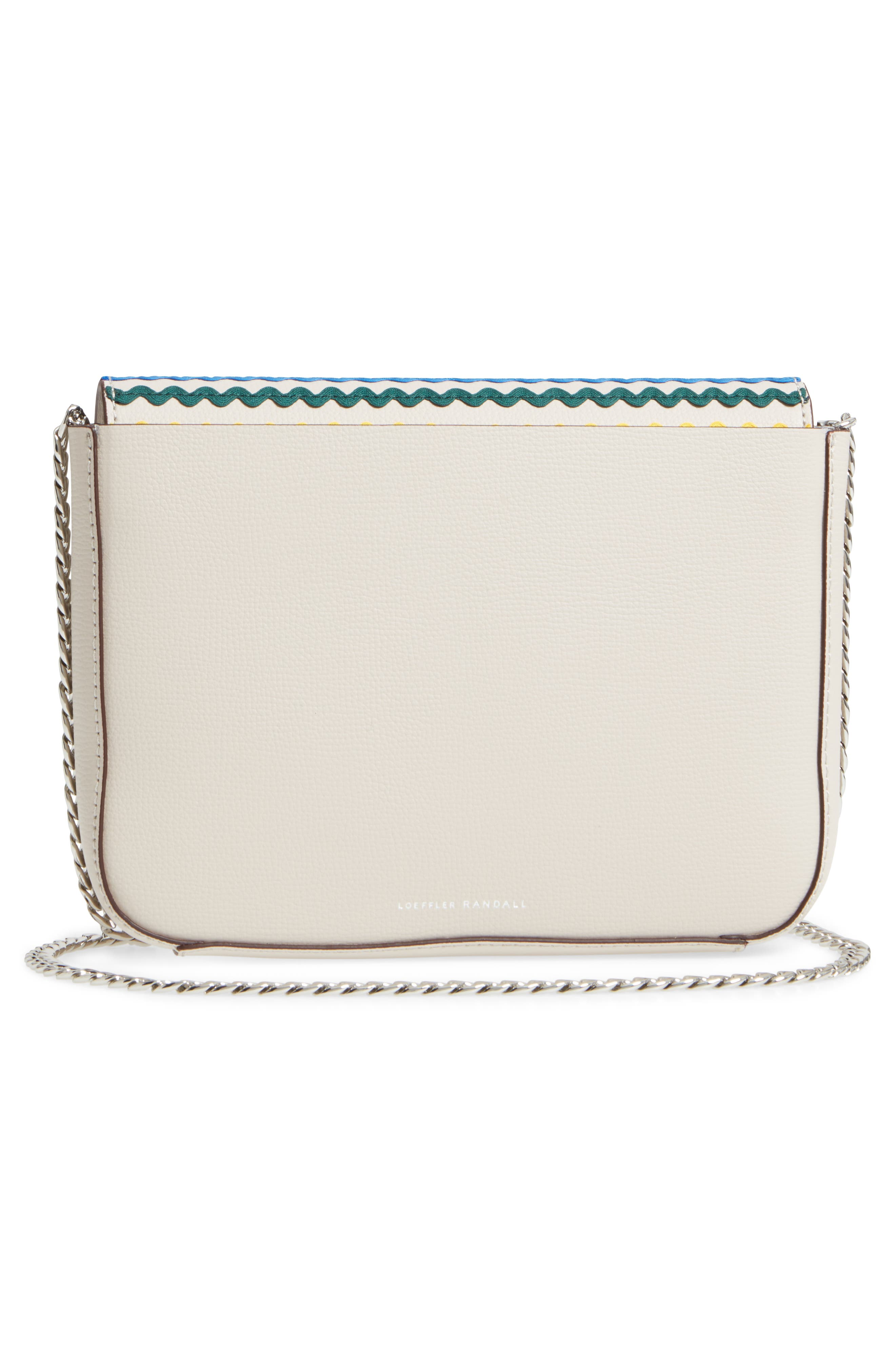 Lock Leather Flap Clutch/Shoulder Bag,                             Alternate thumbnail 3, color,                             Stone/ Rainbow