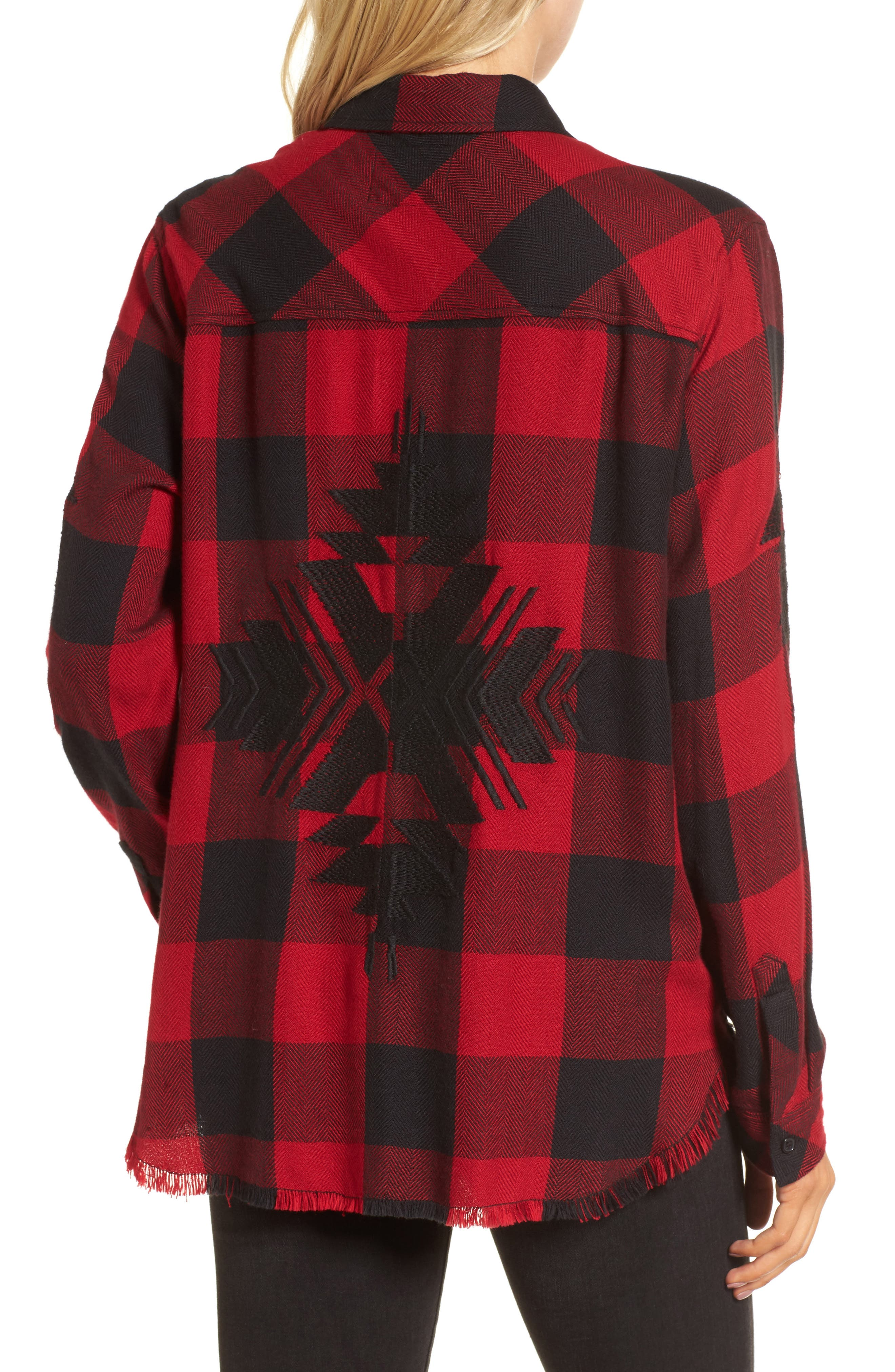 Larsson Embroidered Flannel Shirt,                             Alternate thumbnail 3, color,                             Crimson Jet