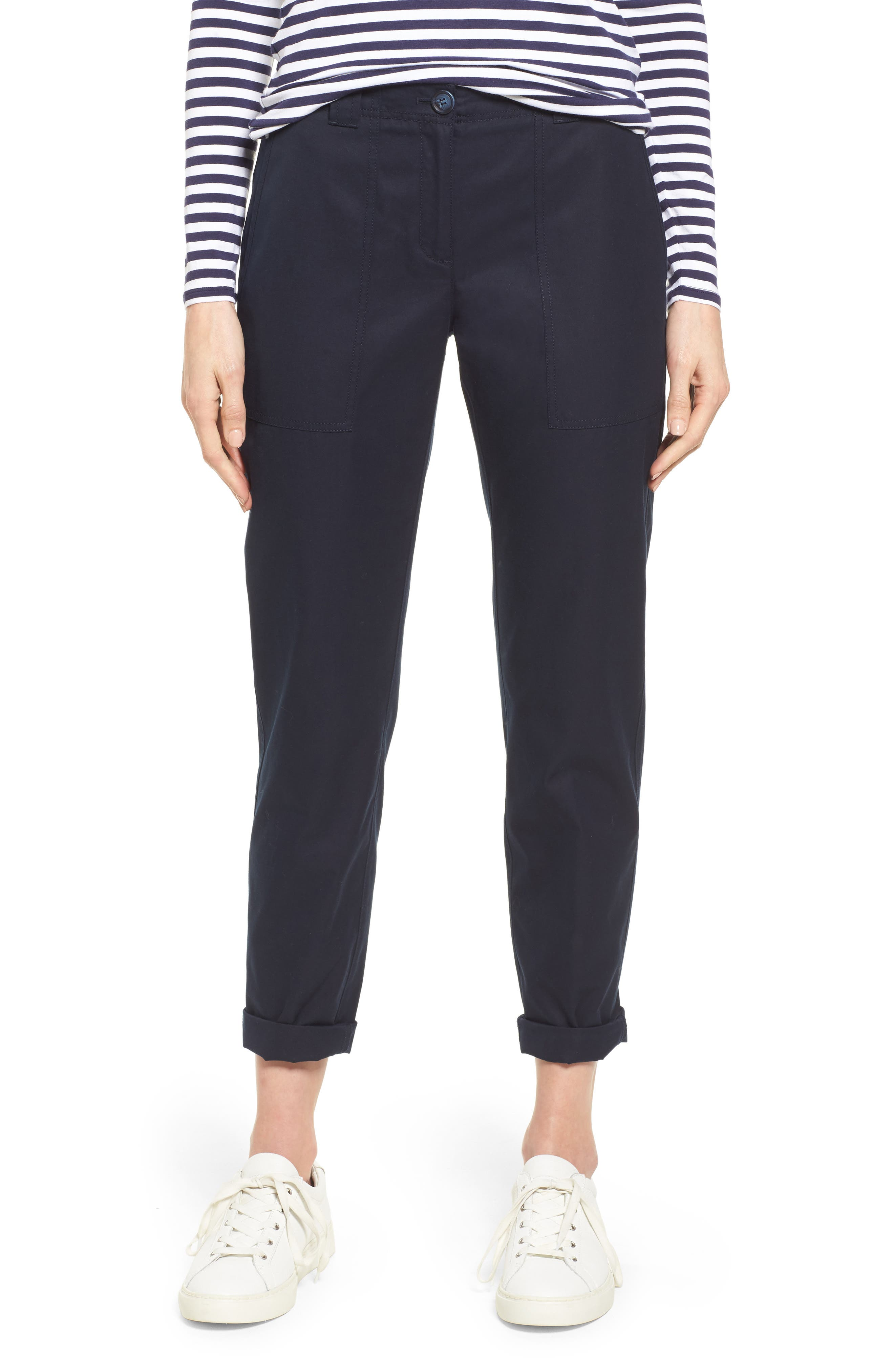Patch Pocket Ankle Pants,                         Main,                         color, Navy Night