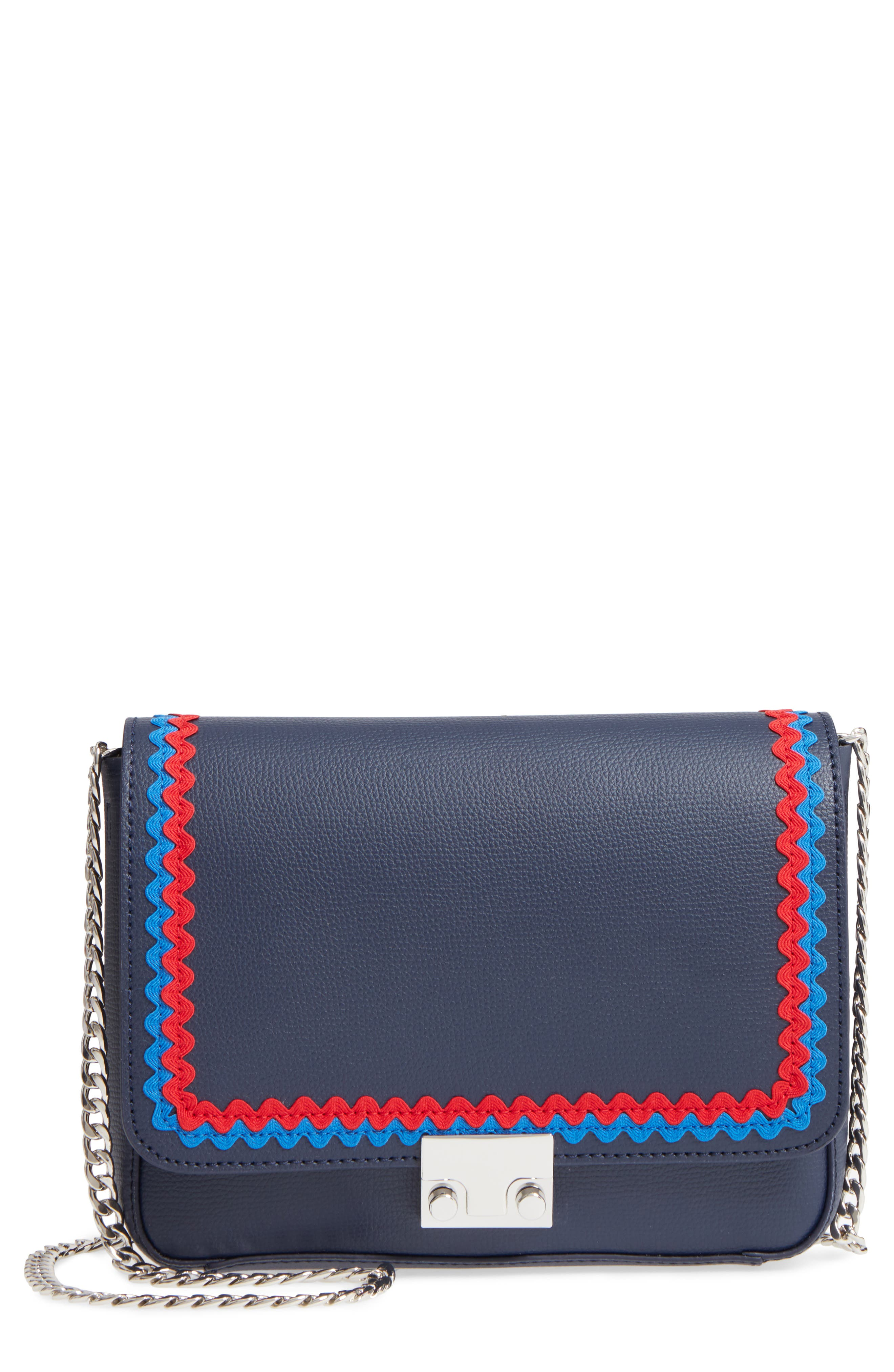Lock Leather Flap Clutch/Shoulder Bag,                         Main,                         color, Eclipse/ Multi