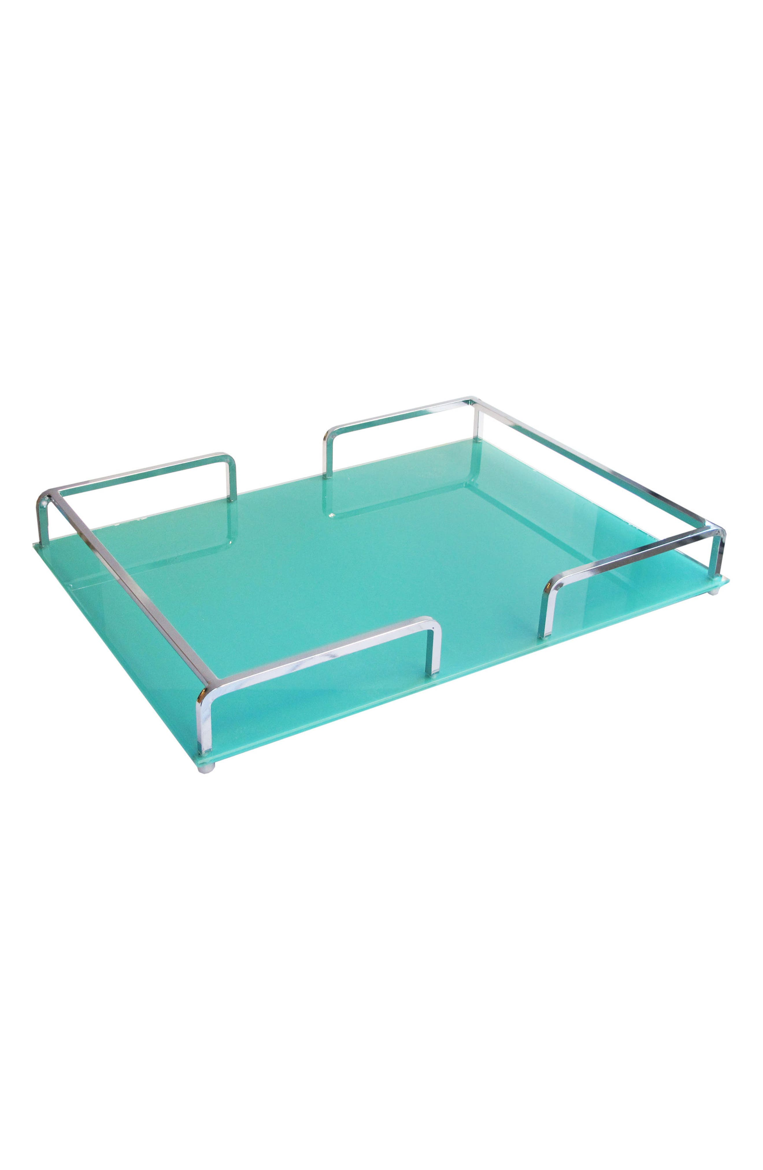 Glass Serving Tray,                             Main thumbnail 1, color,                             Silver