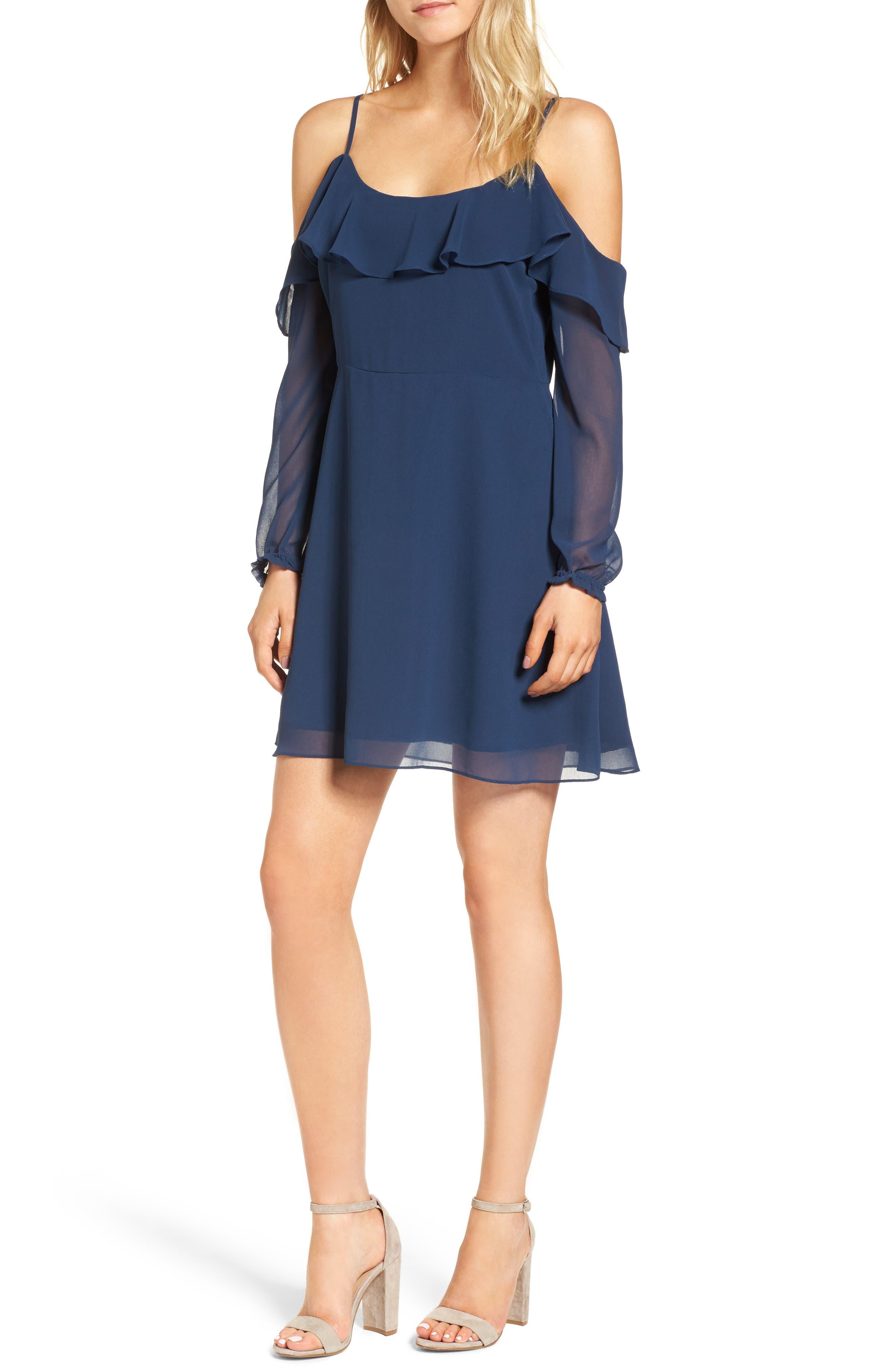 Sundra Cold Shoulder Dress,                         Main,                         color, Insignia Blue