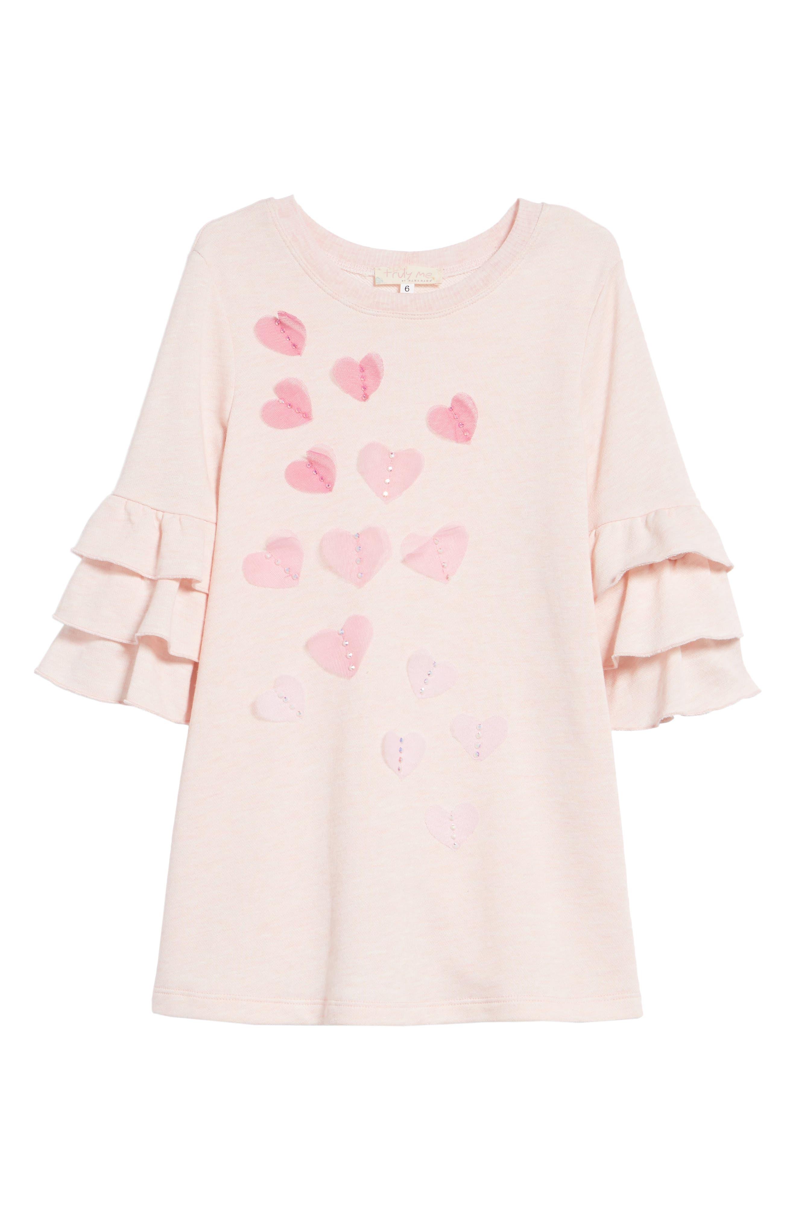 Main Image - Truly Me Ruffle Sleeve Dress (Toddler Girls & Little Girls)