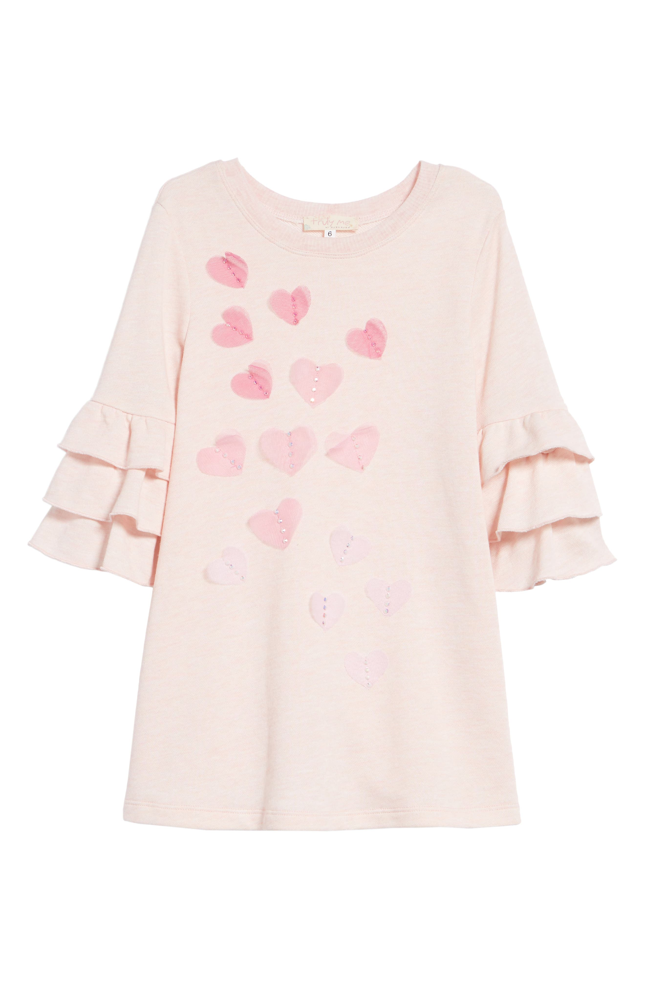 Ruffle Sleeve Dress,                         Main,                         color, Pink