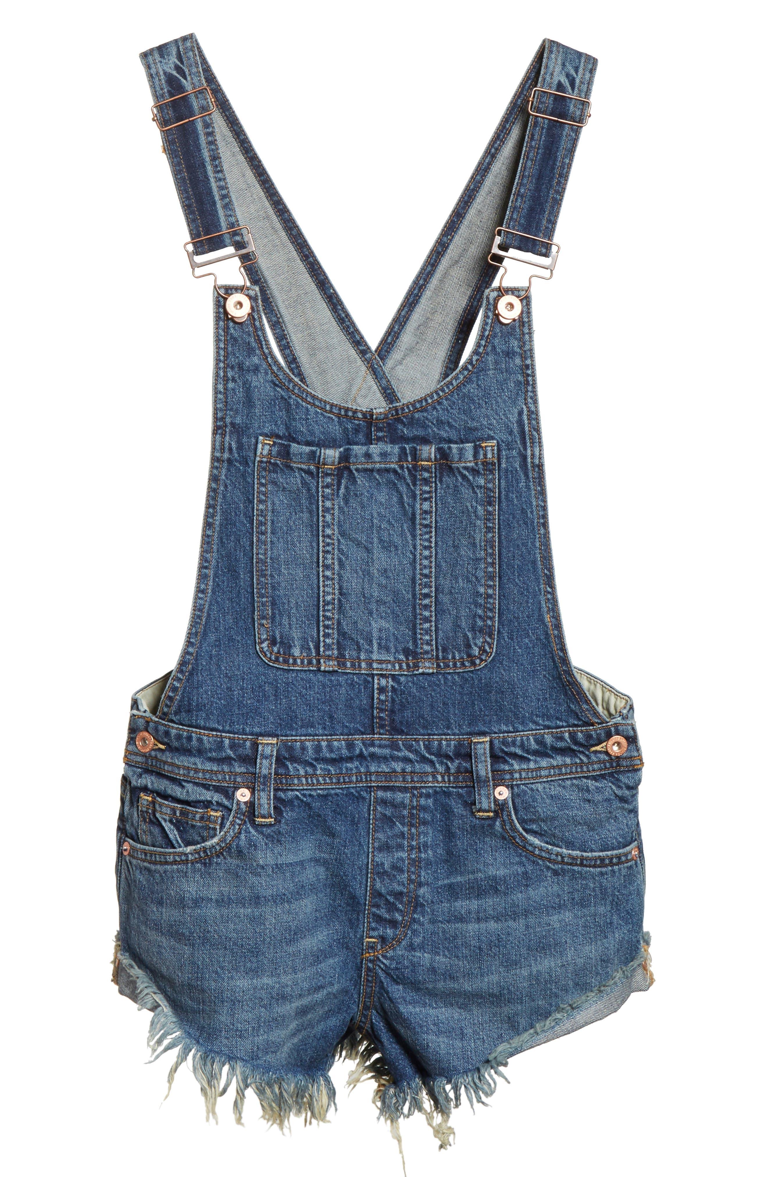 Summer Babe Short Overalls,                             Alternate thumbnail 6, color,                             Blue