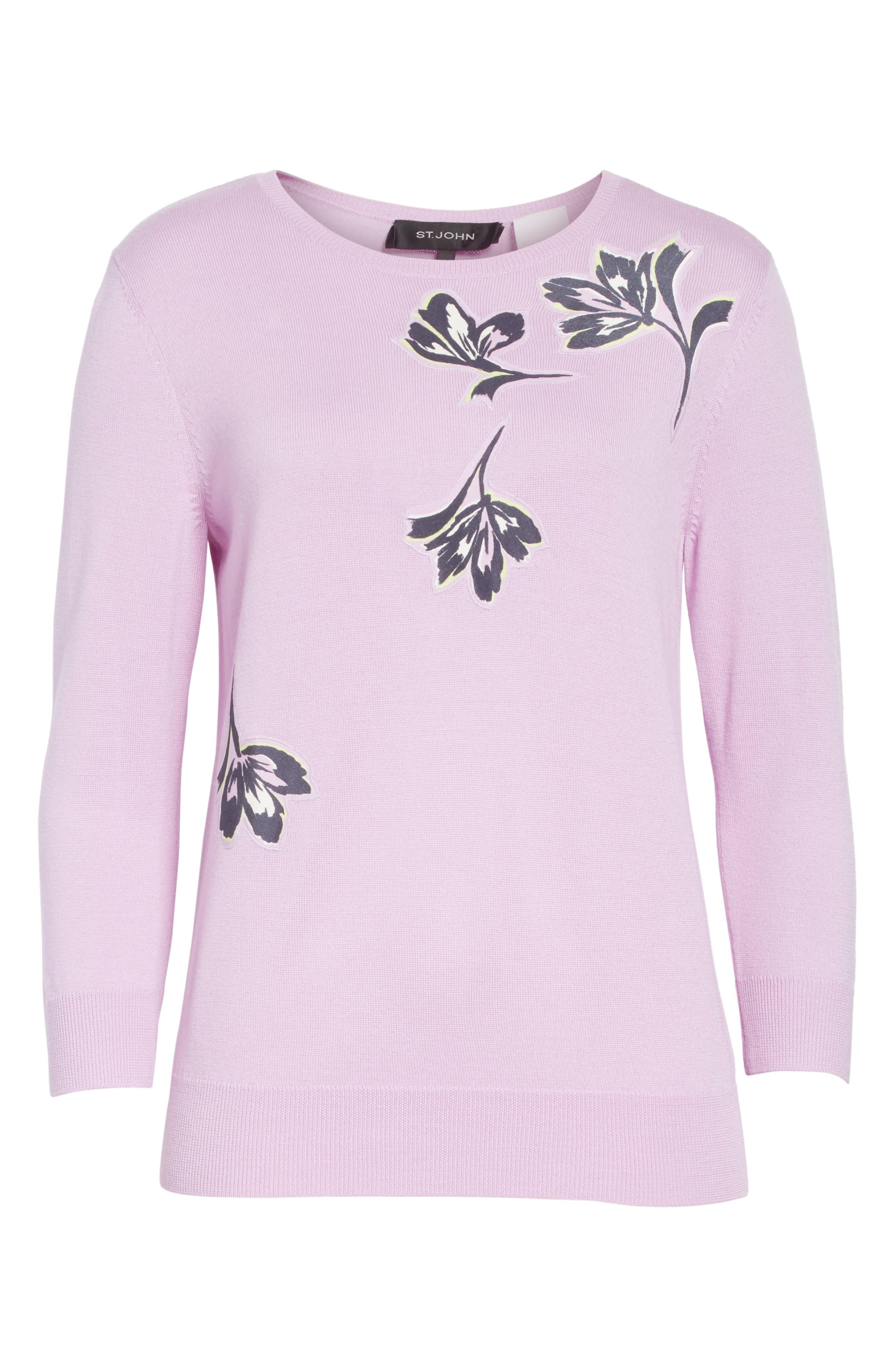 Floral Appliqué Wool Sweater,                             Alternate thumbnail 6, color,                             Orchid Multi