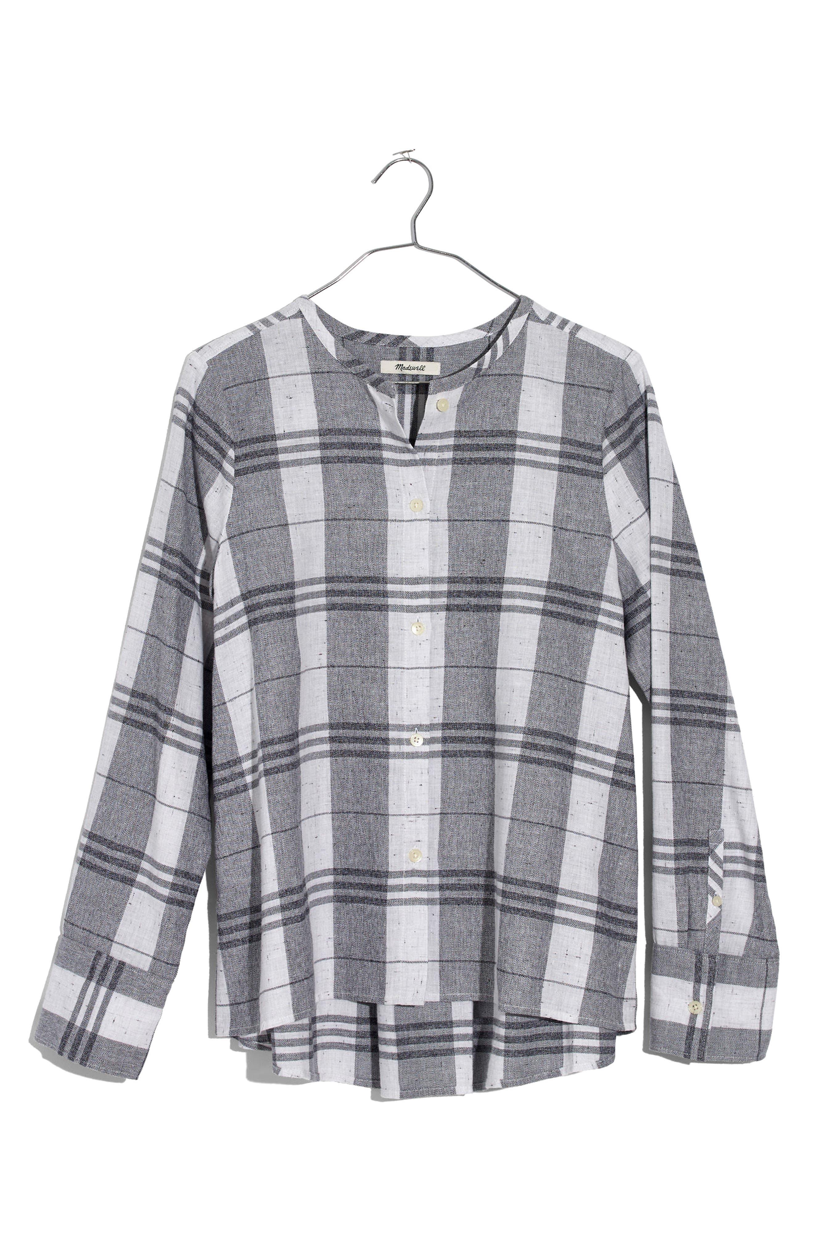 Plaid Collarless Button Down Shirt,                             Alternate thumbnail 4, color,                             Quarter Bright Ivory