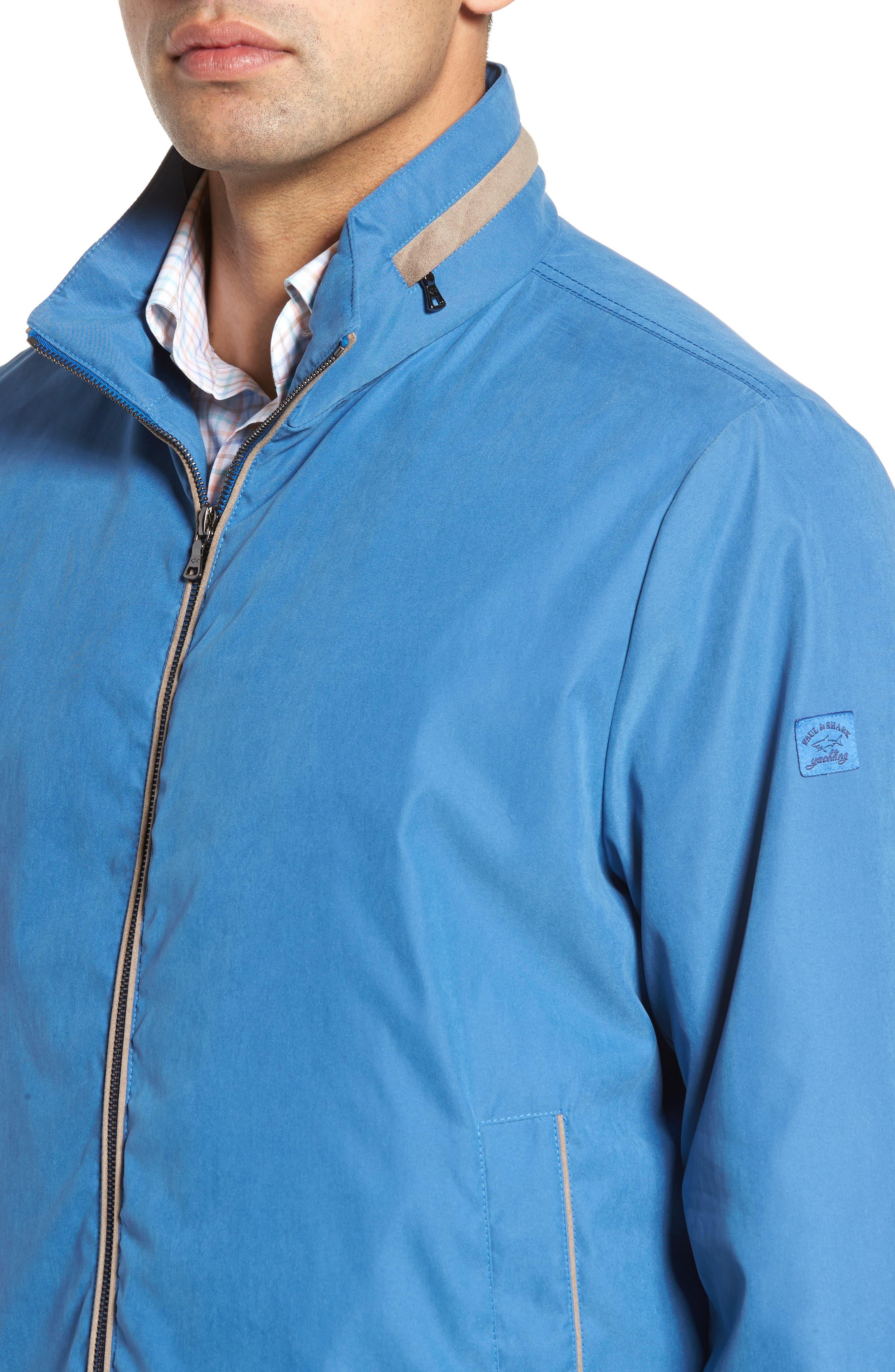 Paul&Shark Water Repellent Microfiber Jacket,                             Alternate thumbnail 4, color,                             Blue