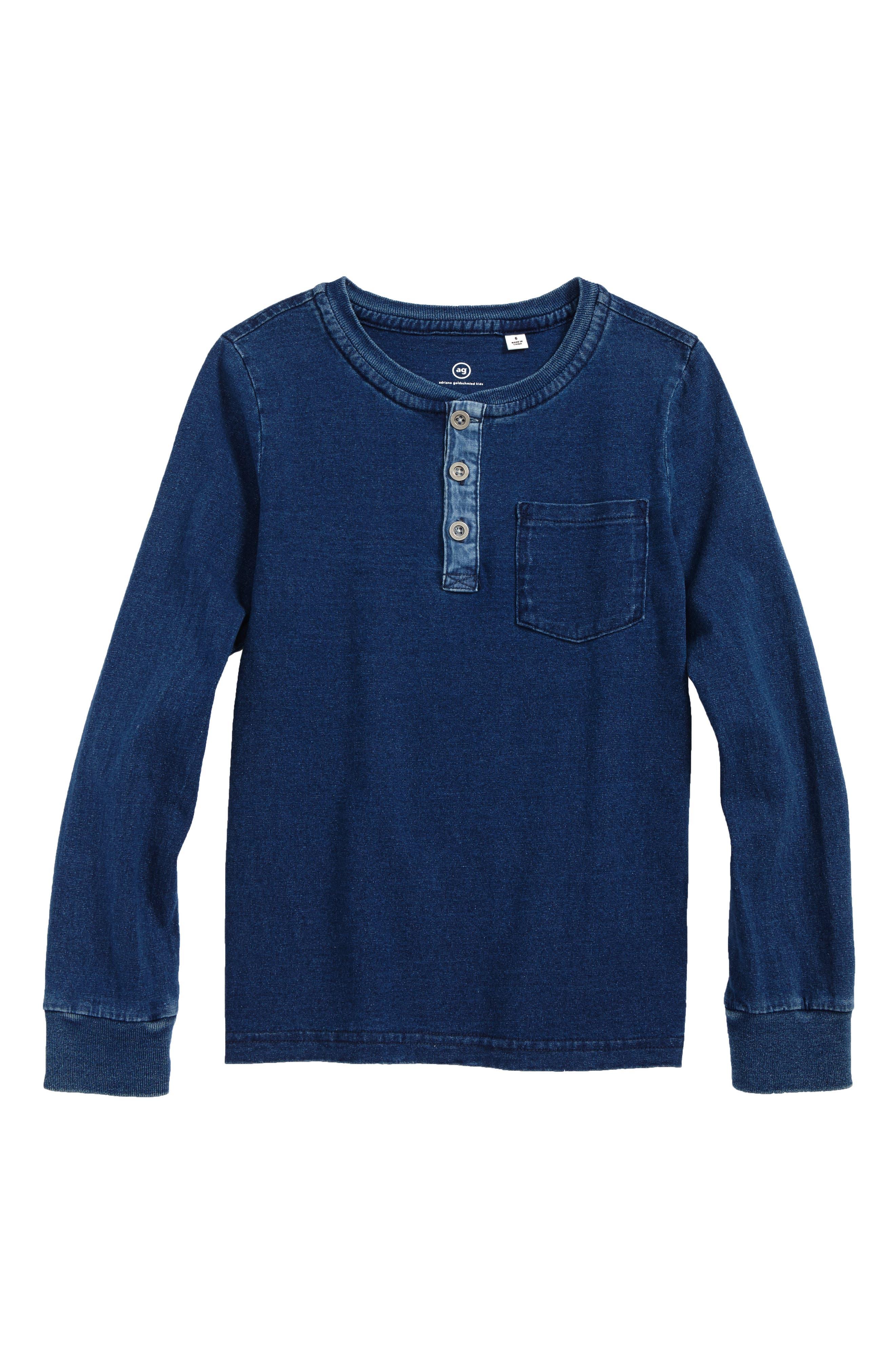 AG Henley T-Shirt,                         Main,                         color, Indigo Rinse
