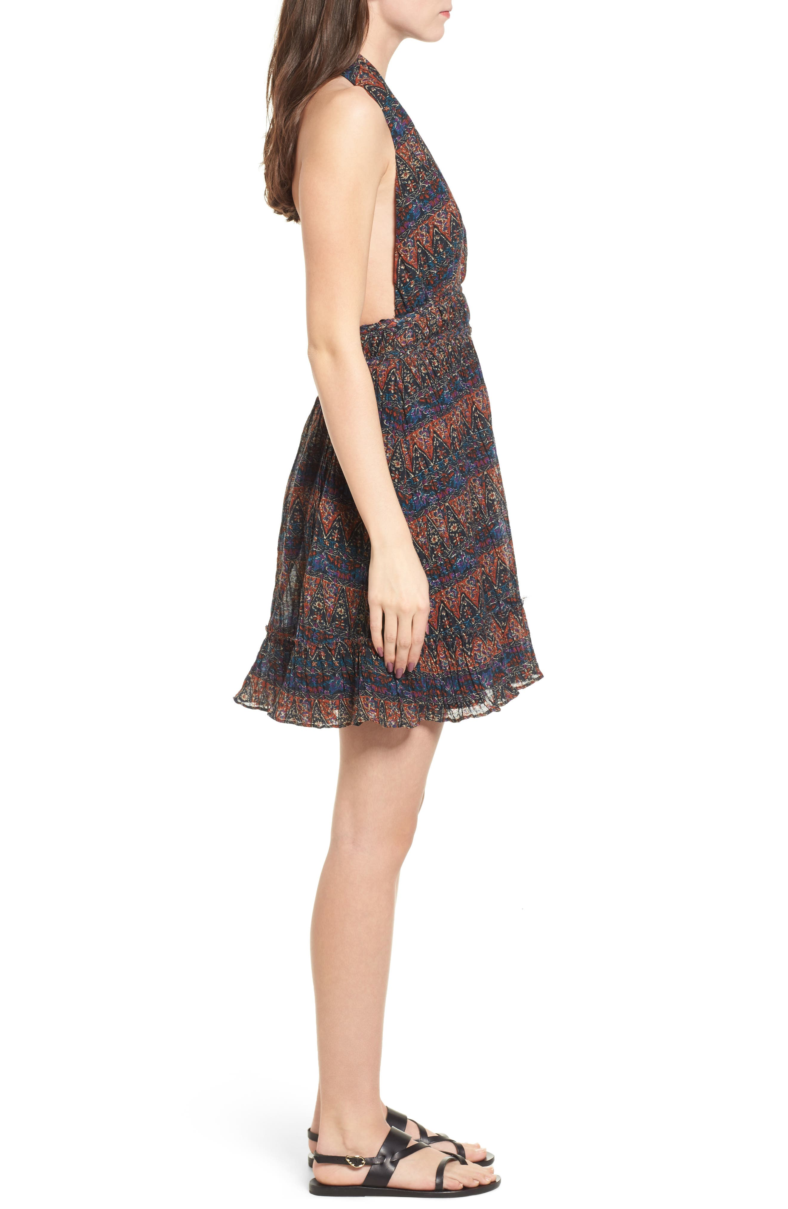 Bali Halter Dress,                             Alternate thumbnail 3, color,                             Dark Multi