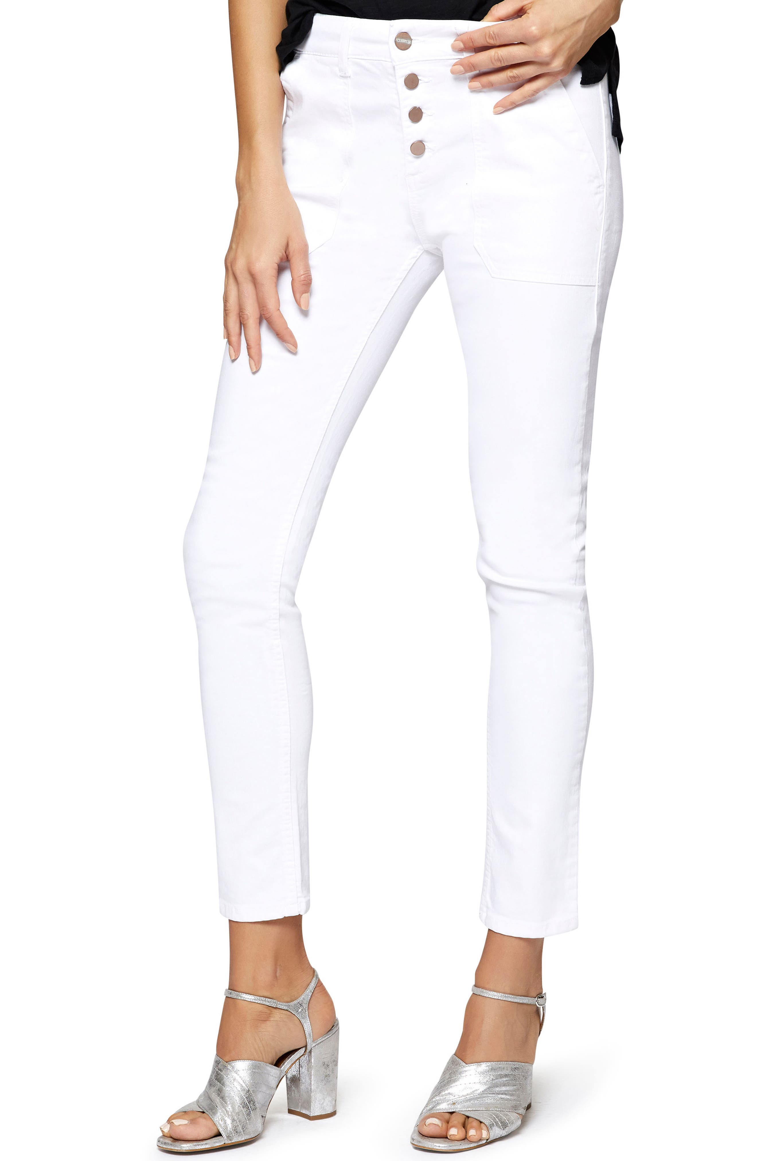 Exposed Peace Straight Pants,                             Main thumbnail 1, color,                             White