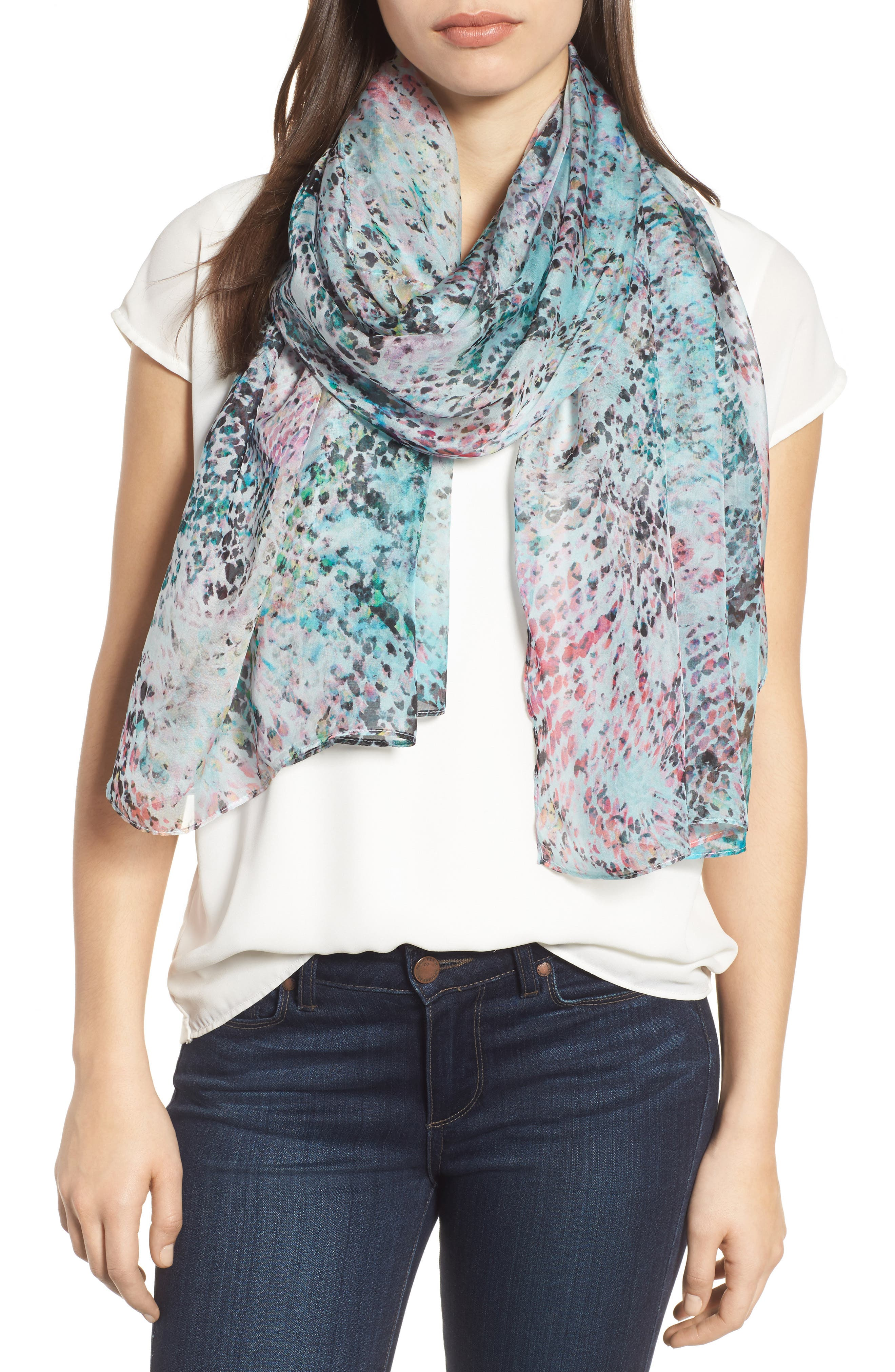Silk Chiffon Oblong Scarf,                         Main,                         color, Teal Warped Snake