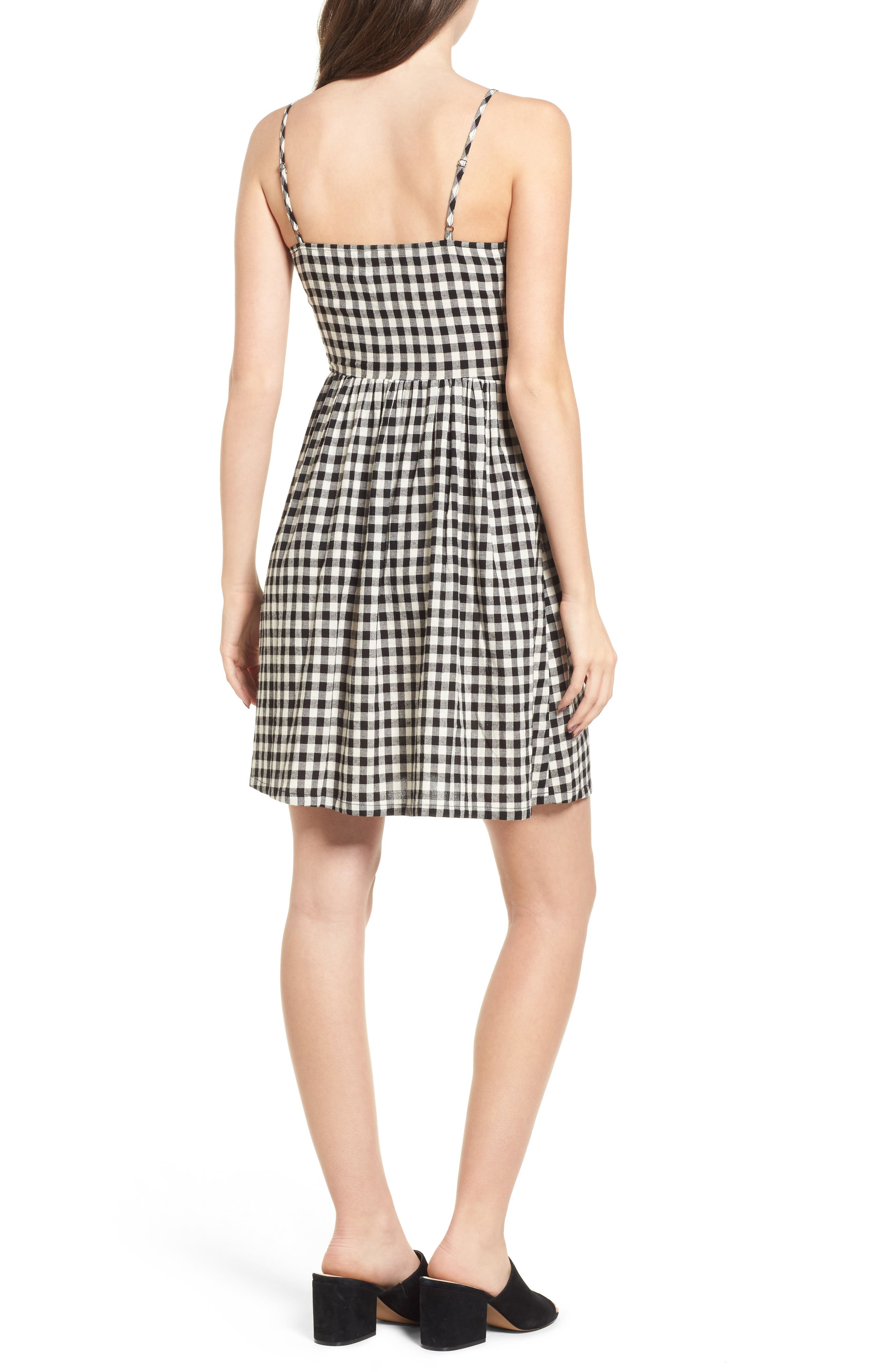 Lace-Up Gingham Dress,                             Alternate thumbnail 3, color,                             Black Gingham
