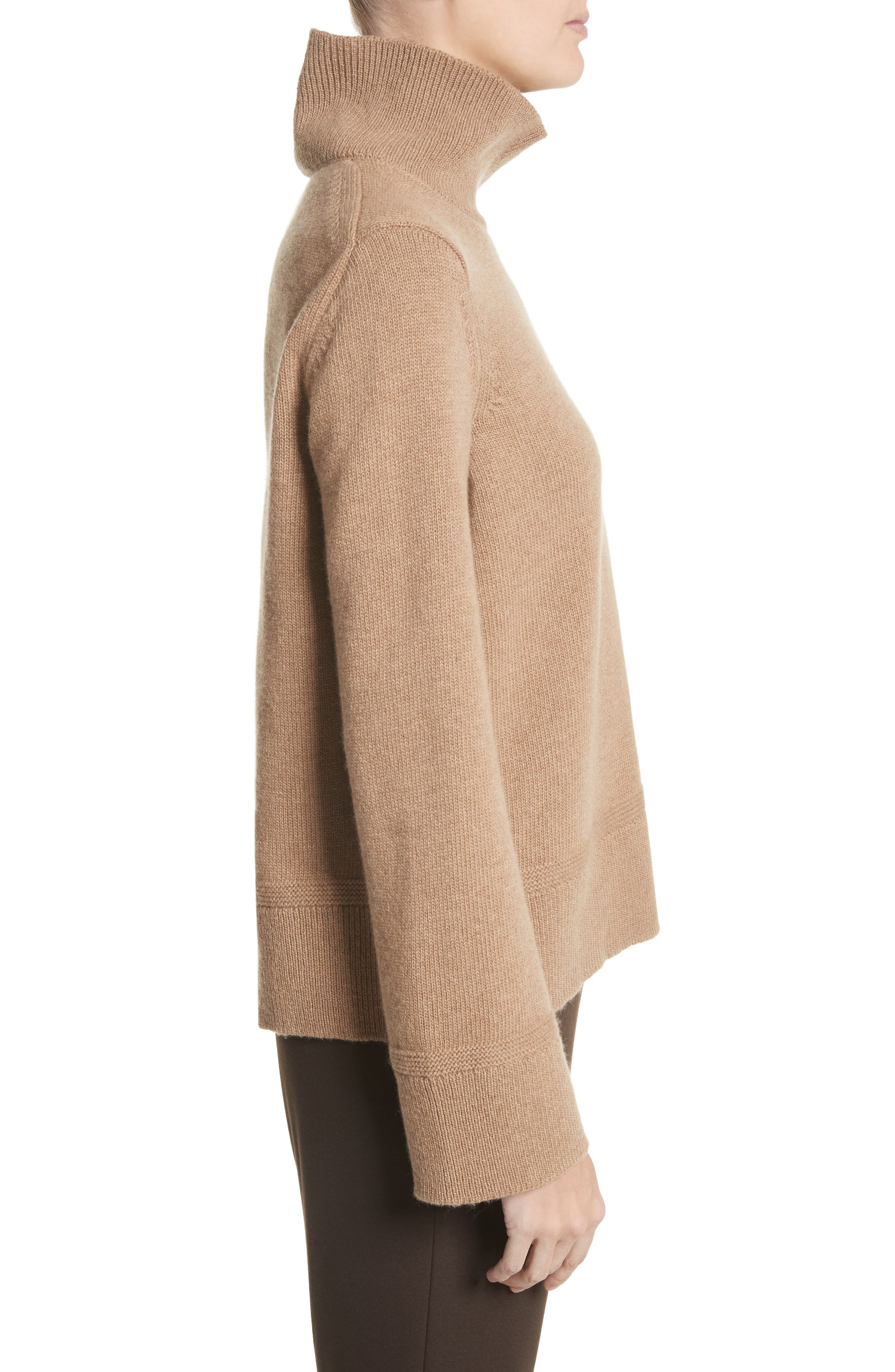 Suede Zip Detail Wool & Cashmere Crop Sweater,                             Alternate thumbnail 3, color,                             Cammello Melange