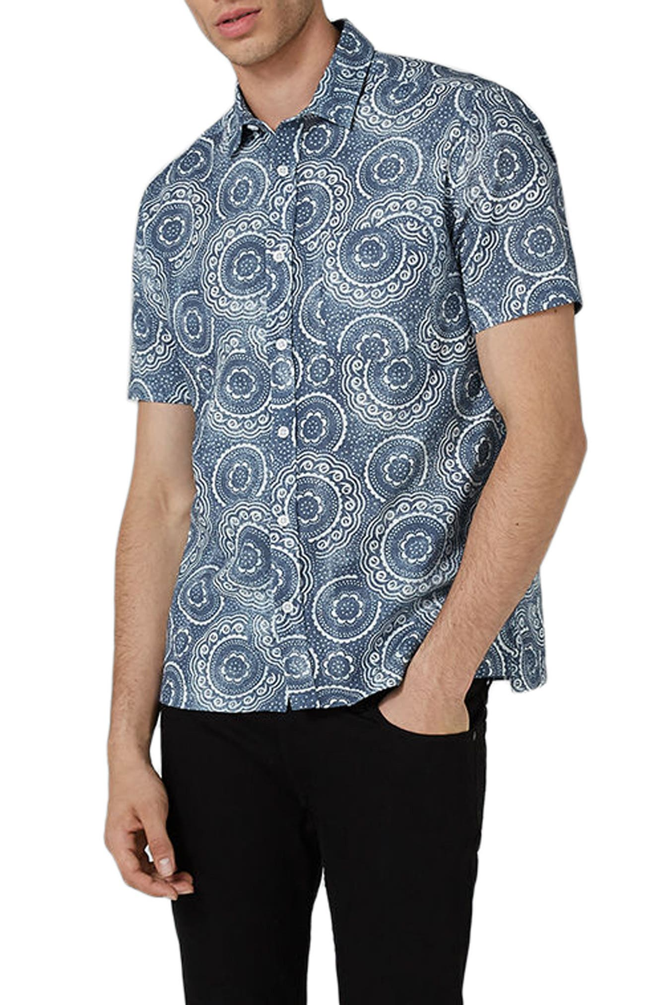 Trim Fit Circle Print Woven Shirt,                             Alternate thumbnail 3, color,                             Blue Multi