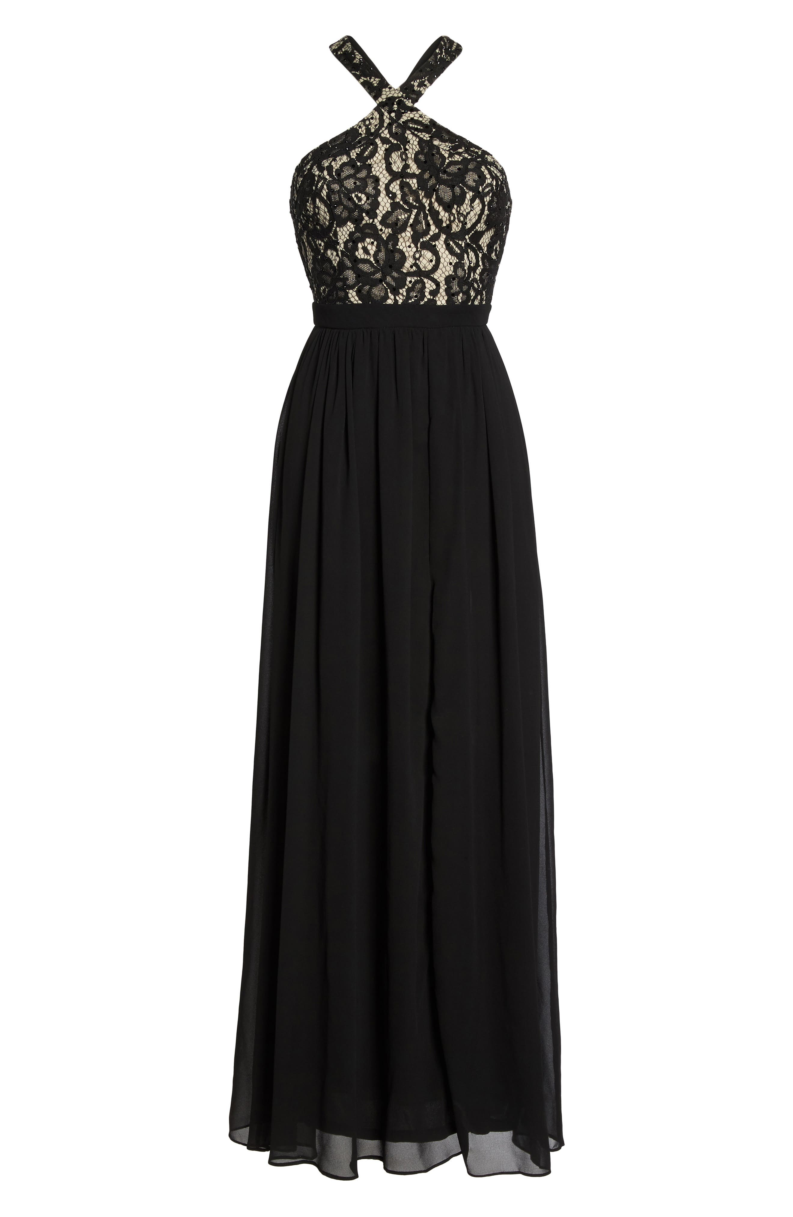 Sequin Lace & Chiffon Halter Gown,                             Alternate thumbnail 6, color,                             Black/ Nude