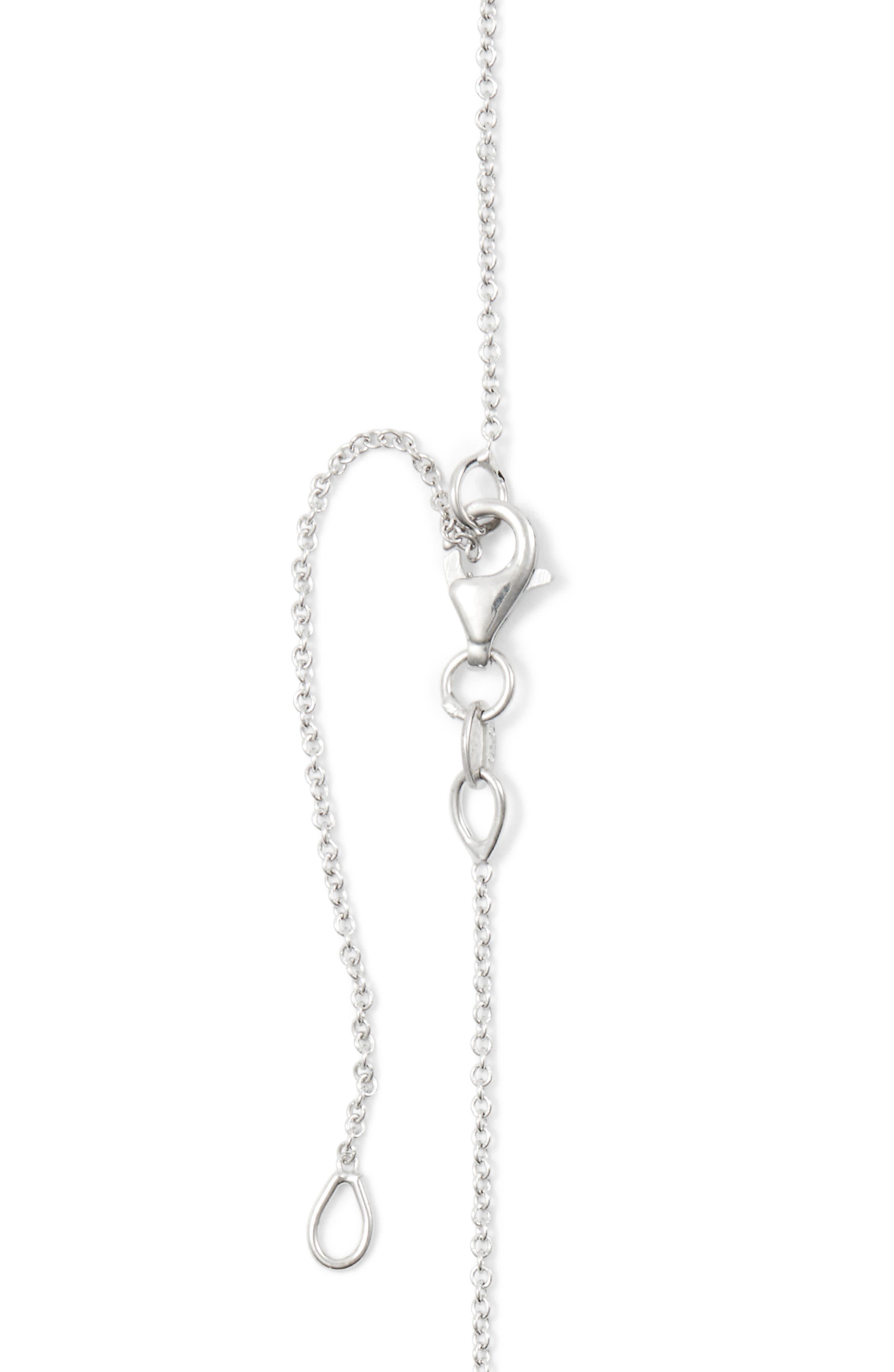18k Gold Pavé Diamond Initial Pendant Necklace,                             Alternate thumbnail 5, color,                             White Gold - A