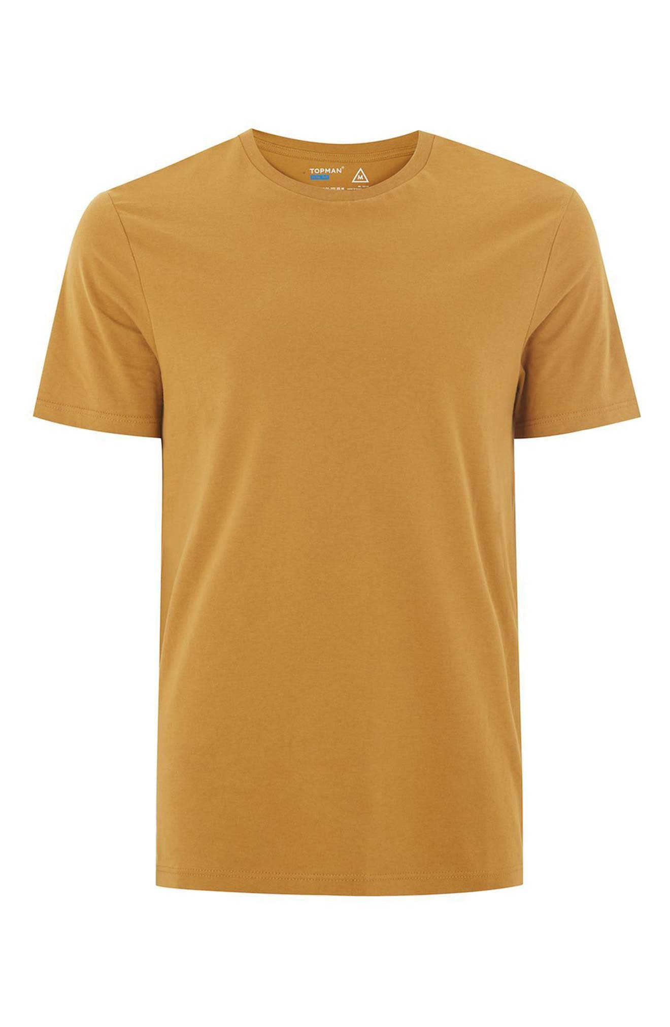 Slim Fit Crewneck T-Shirt,                             Alternate thumbnail 4, color,                             Mustard
