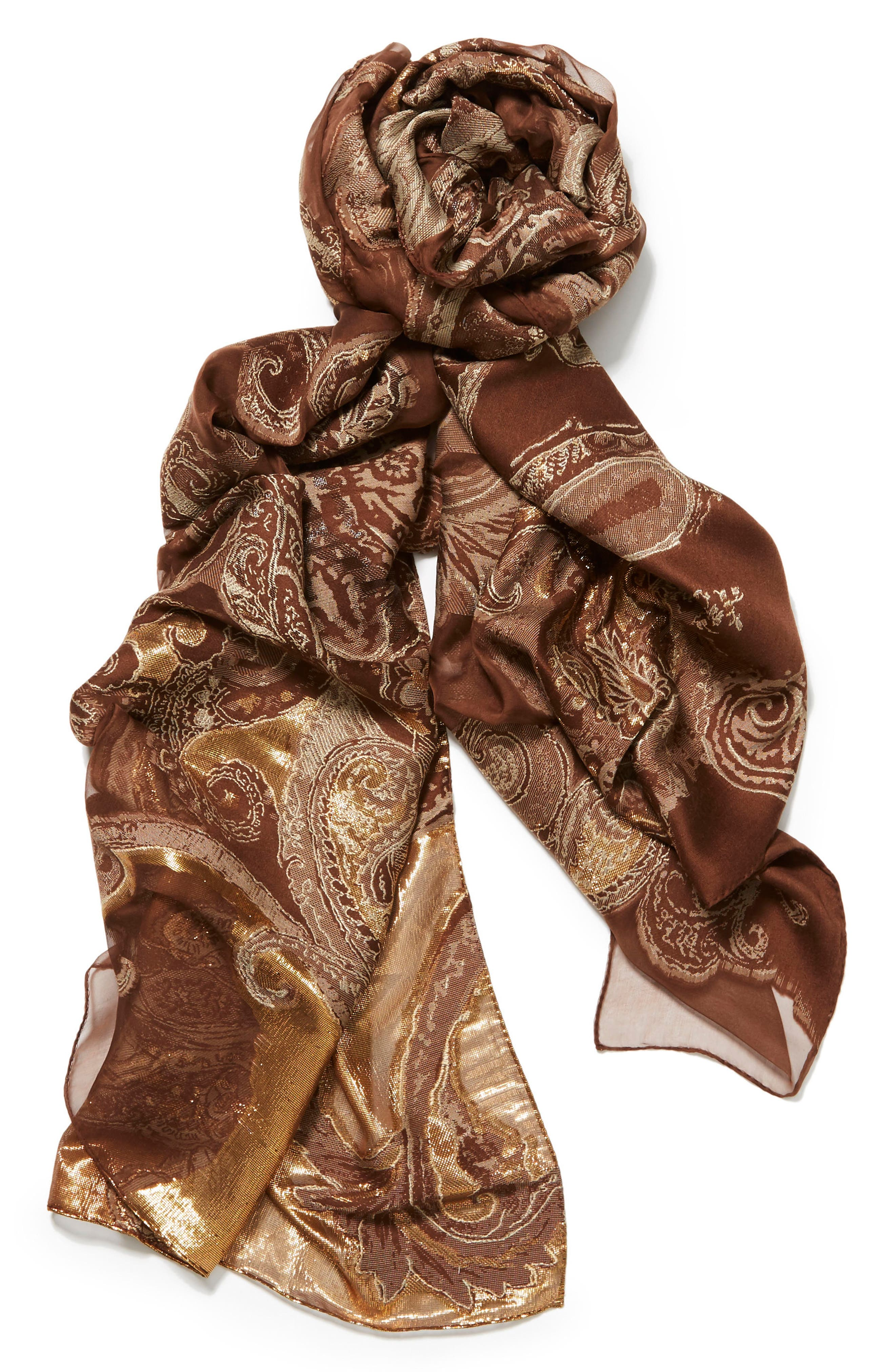 Guilded Paisley Scarf,                             Alternate thumbnail 2, color,                             Allspice Multi